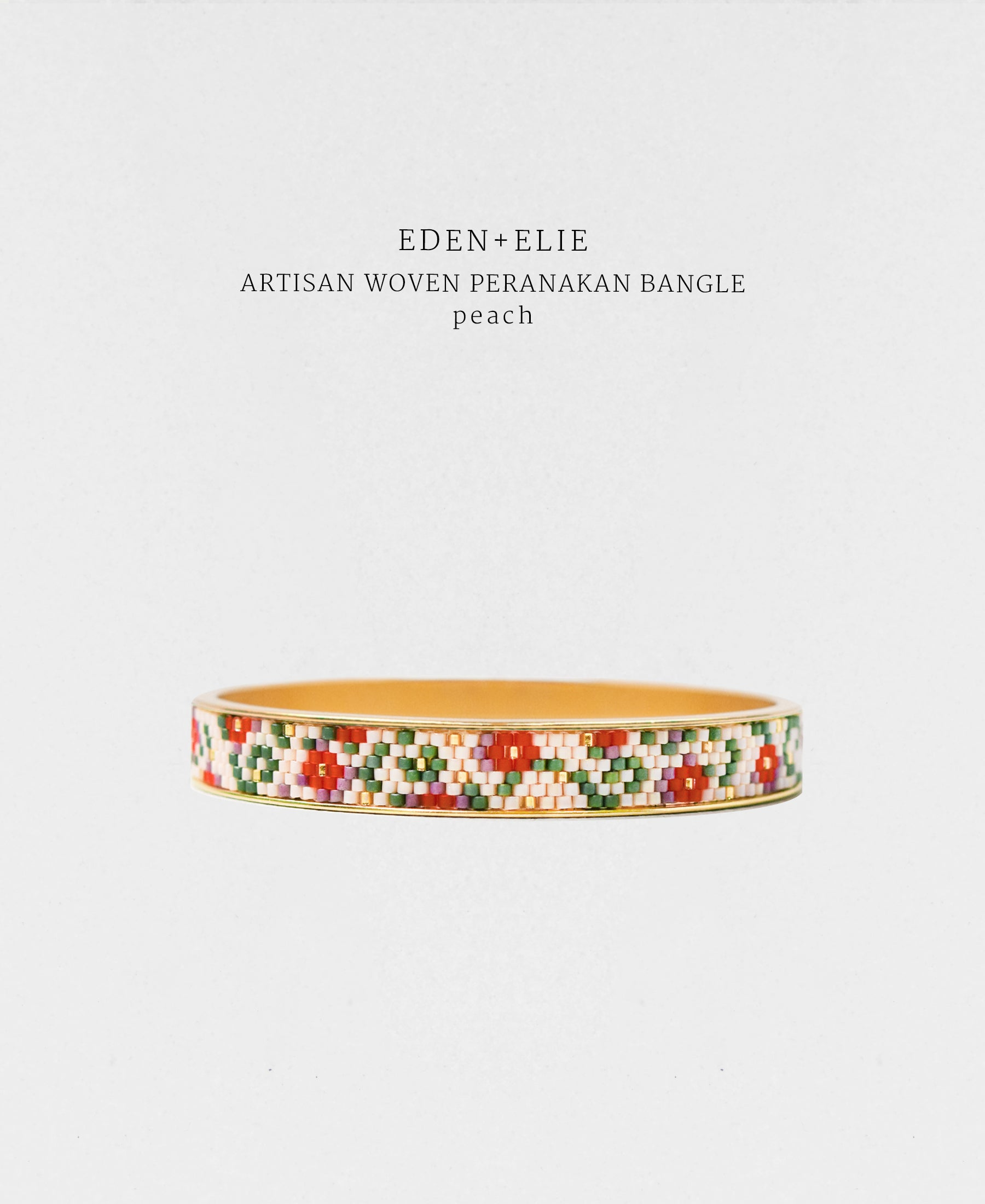EDEN + ELIE Modern Peranakan gold narrow bangle - peach