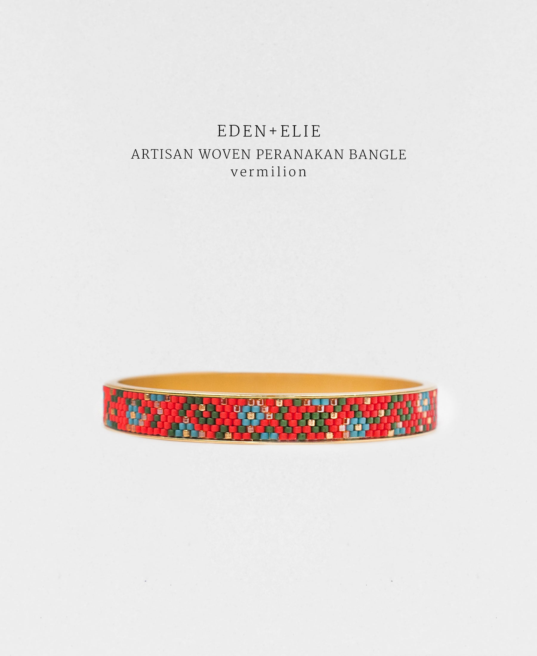 EDEN + ELIE Modern Peranakan gold narrow bangle -  vermilion
