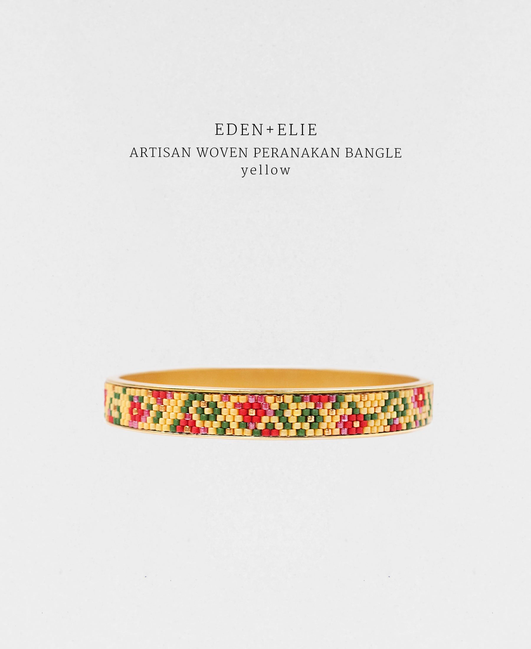 EDEN + ELIE Modern Peranakan gold narrow bangle -  yellow