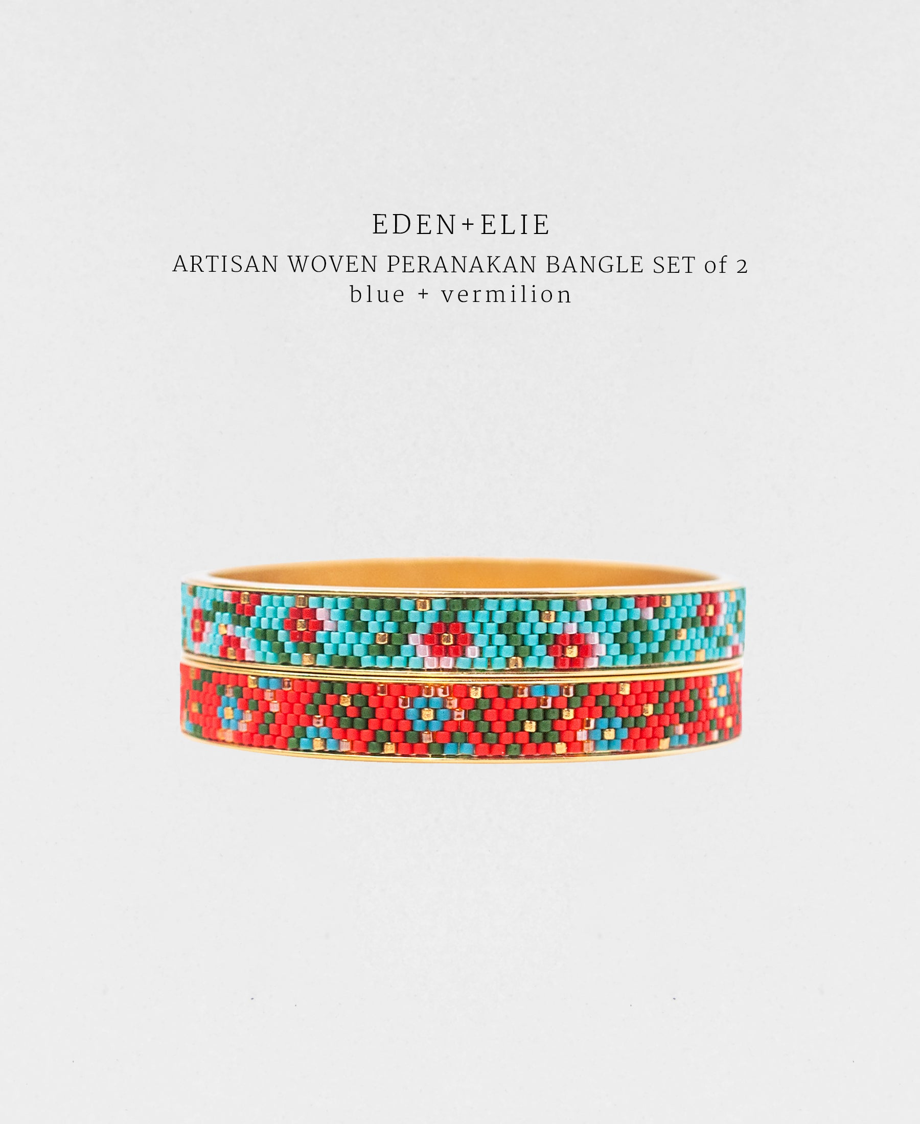 EDEN + ELIE Modern Peranakan gold narrow bangles set of 2 - blue + vermilion