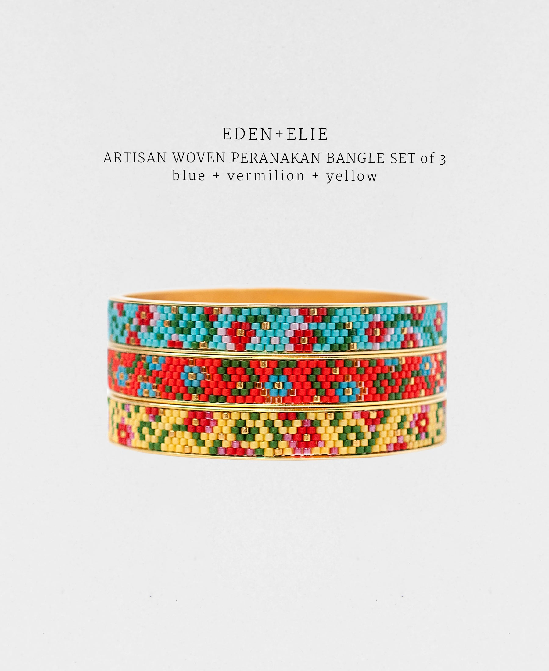 EDEN + ELIE Modern Peranakan gold narrow bangles set of 3 - blue + vermilion + yellow