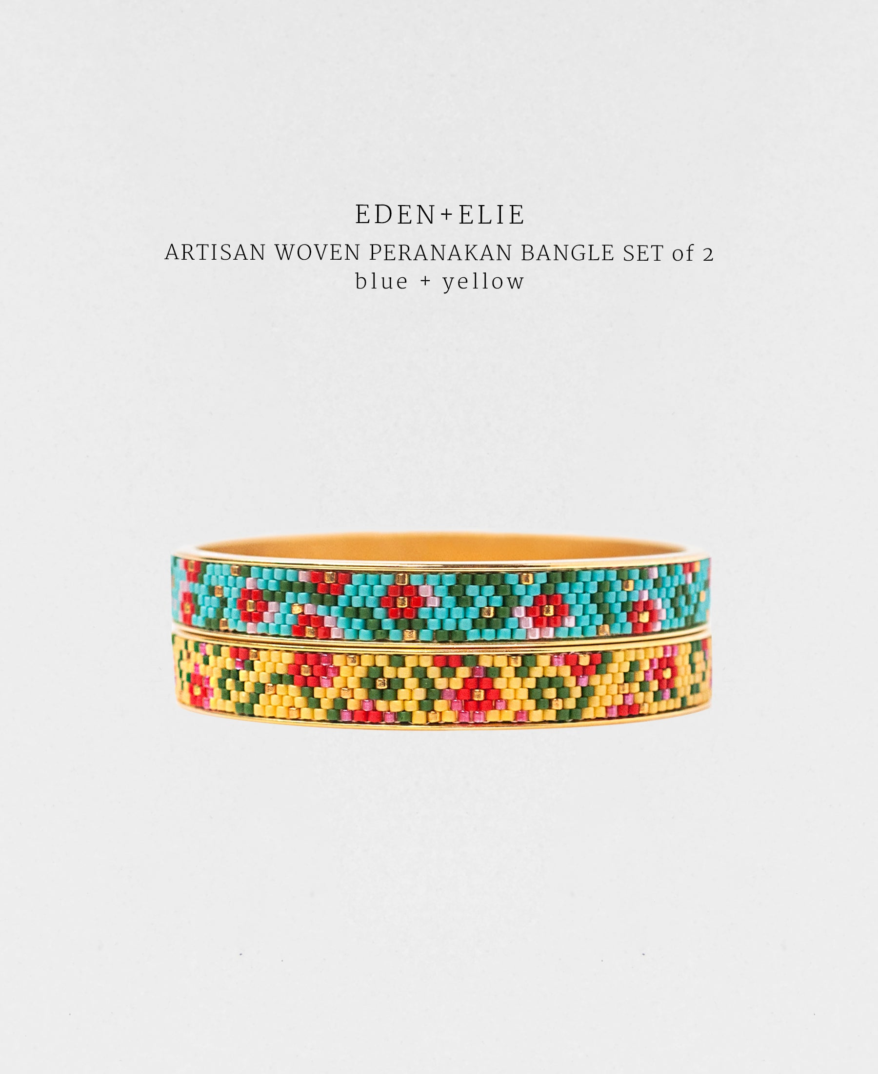 EDEN + ELIE Modern Peranakan gold narrow bangles set of 2 - blue + yellow