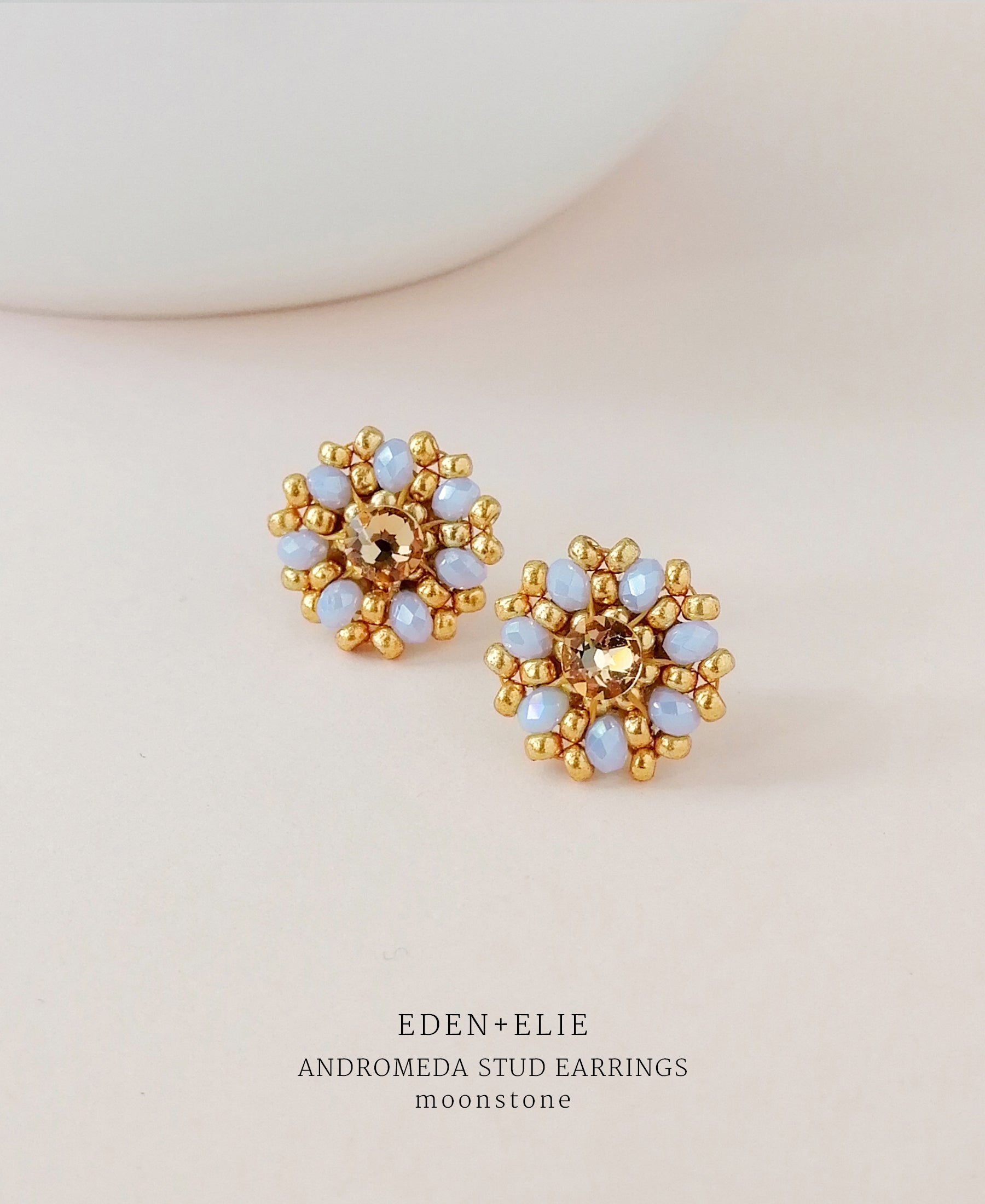 DEN + ELIE Andromeda gold plated jewelry stud earrings - moonstone