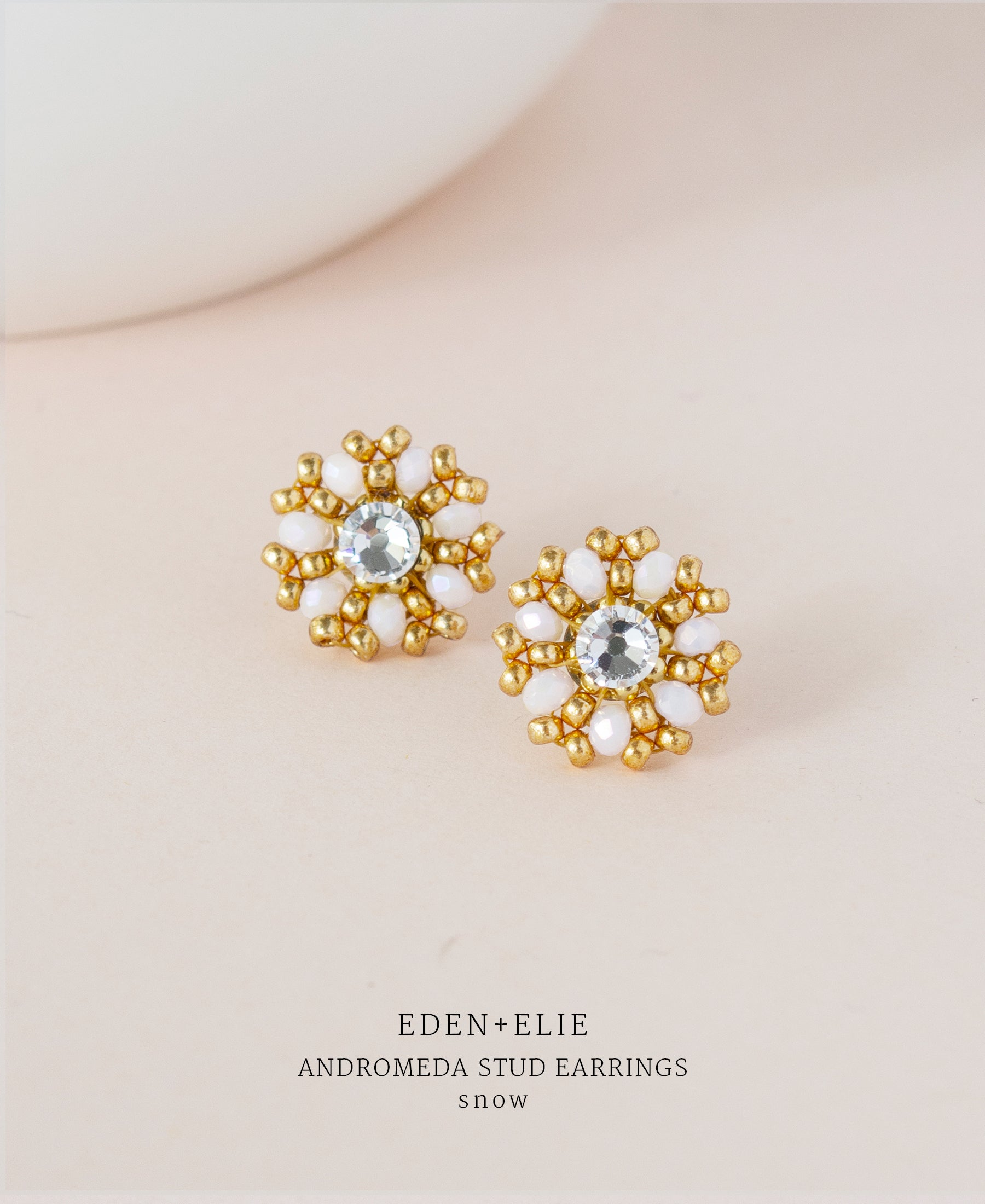 EDEN + ELIE gold plated jewelry Andromeda stud earrings - snow