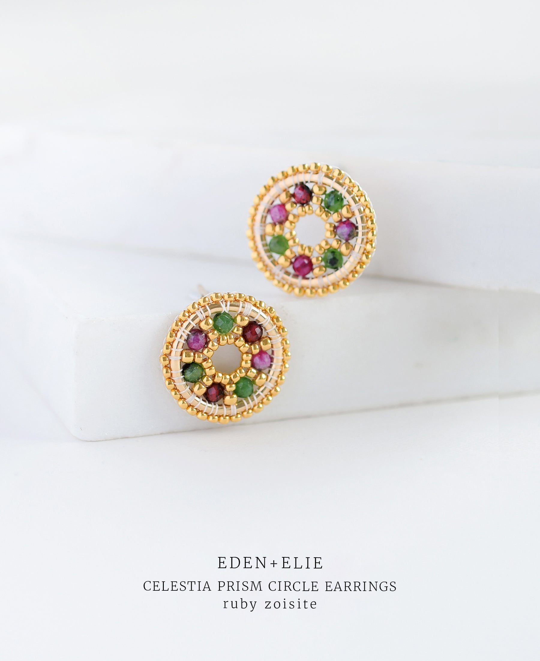 EDEN + ELIE Celestia prism circle earrings - ruby zoisite