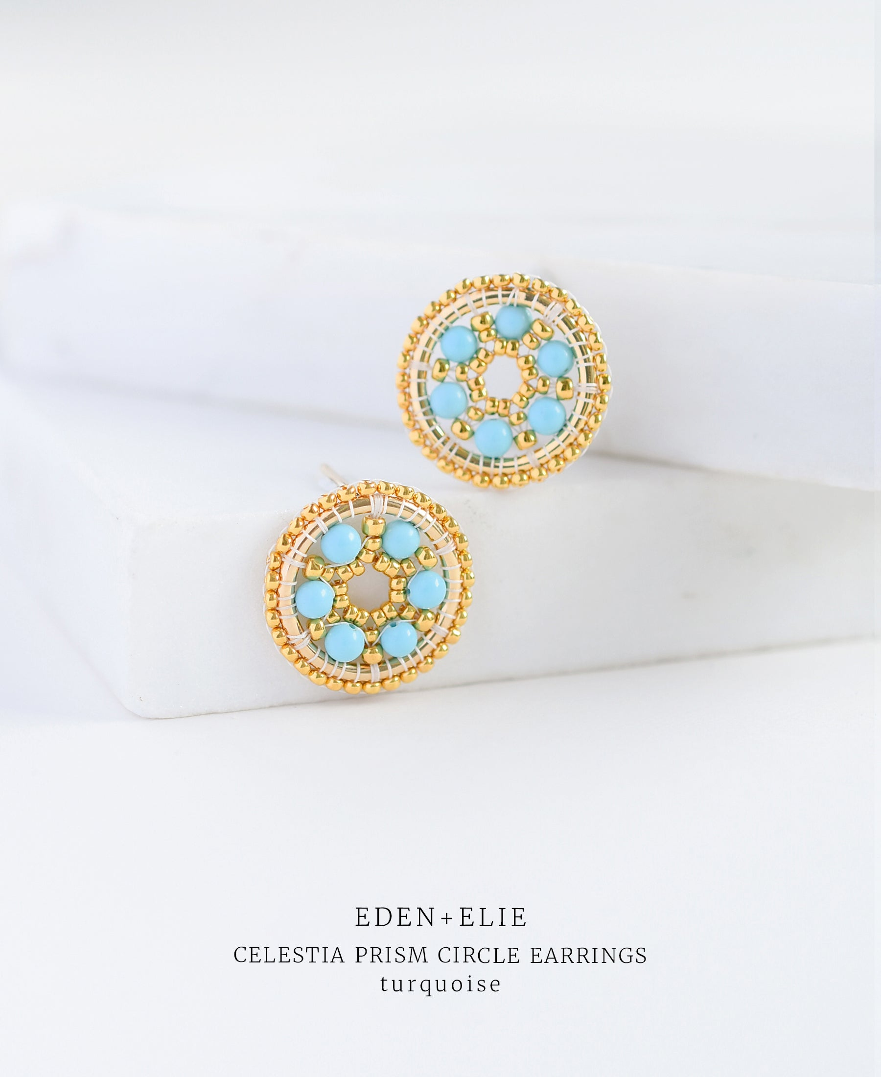 EDEN + ELIE Celestia prism circle earrings - turquoise