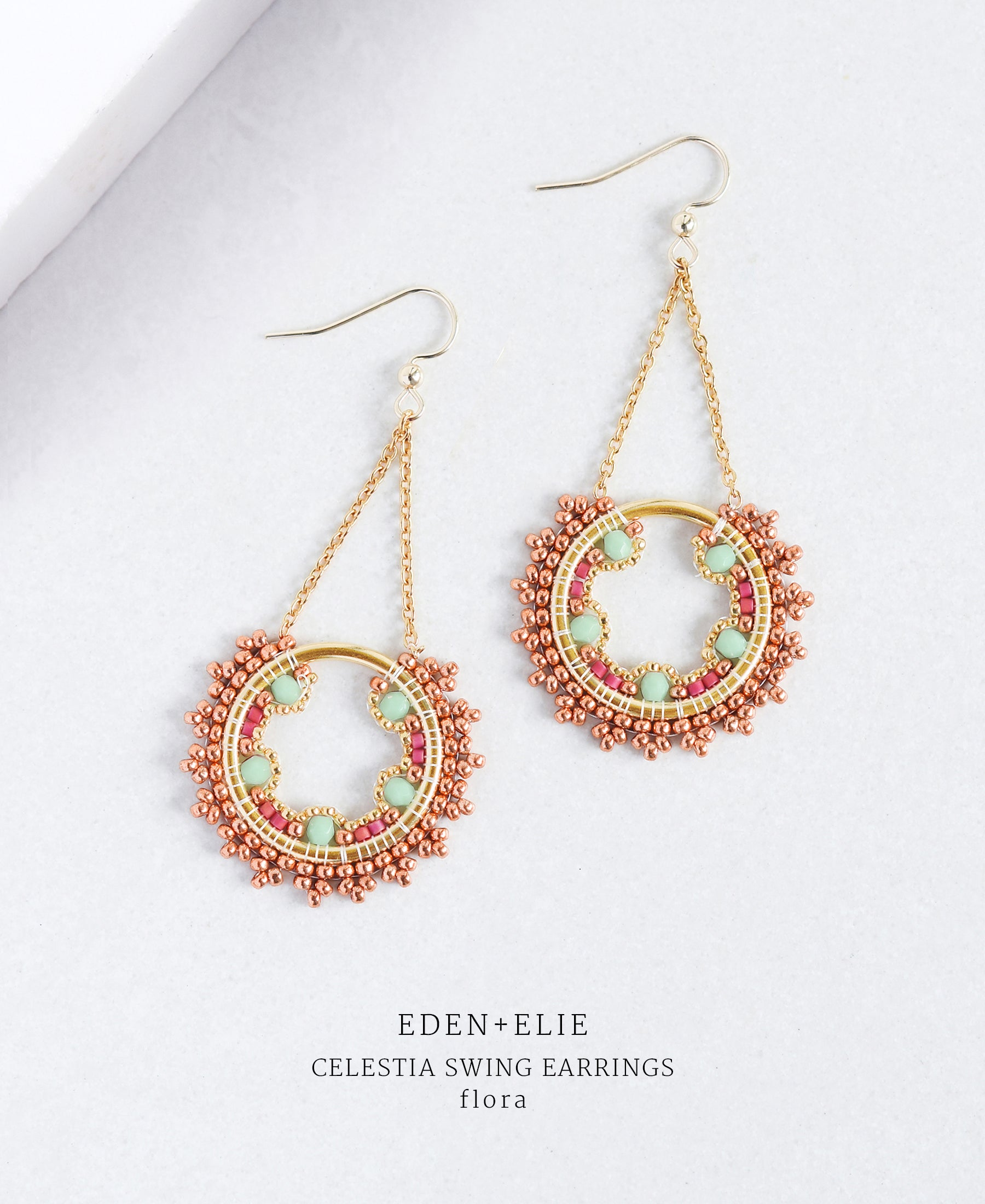 EDEN + ELIE Celestia swing earrings - flora green