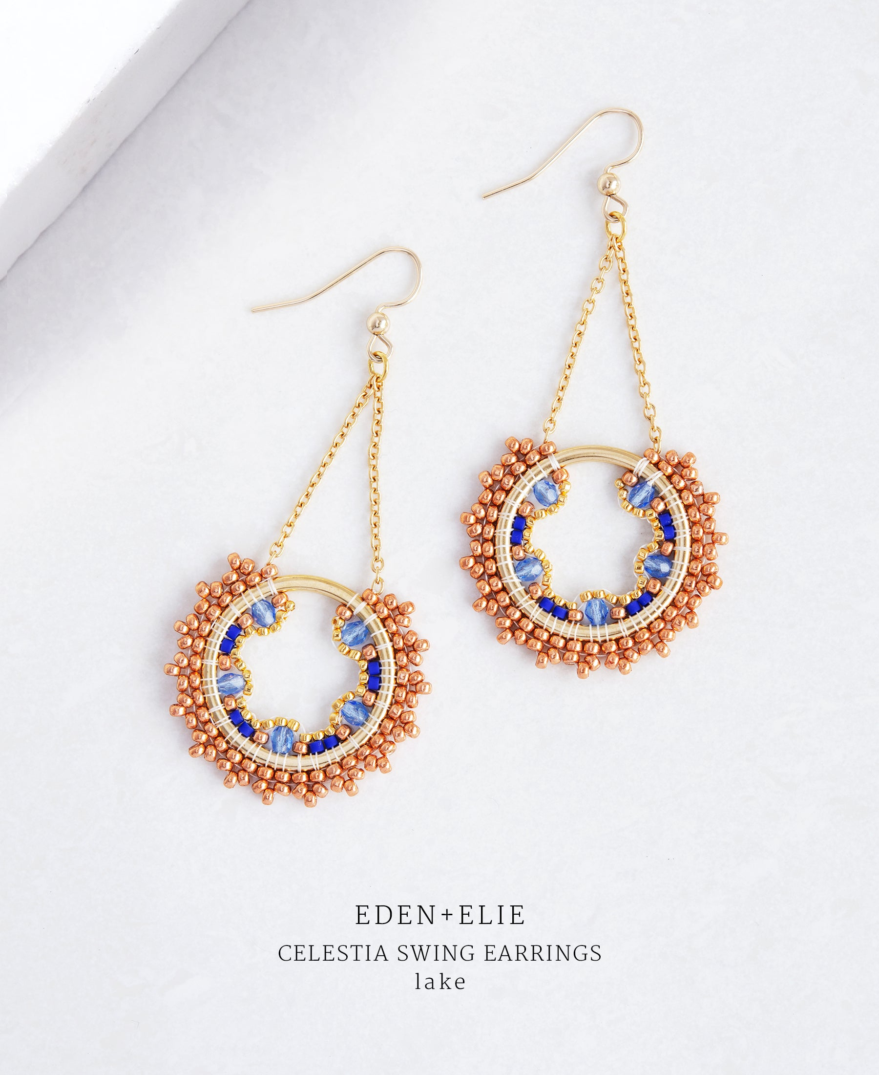 EDEN + ELIE Celestia swing earrings - lake blue