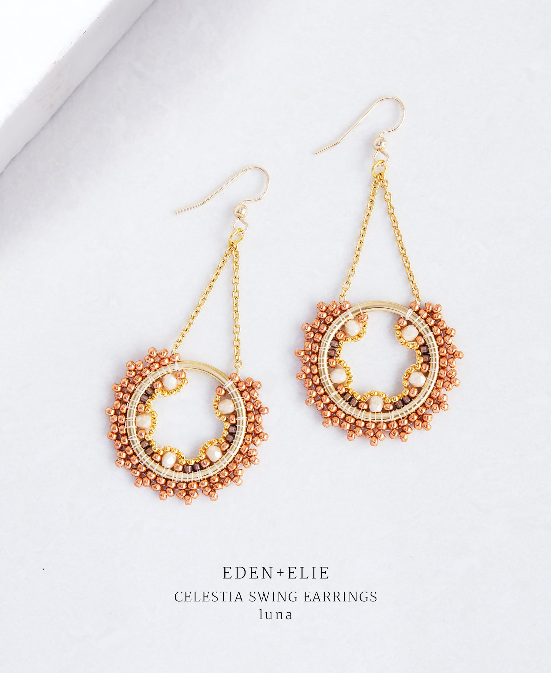 EDEN + ELIE Celestia swing earrings - luna ivory