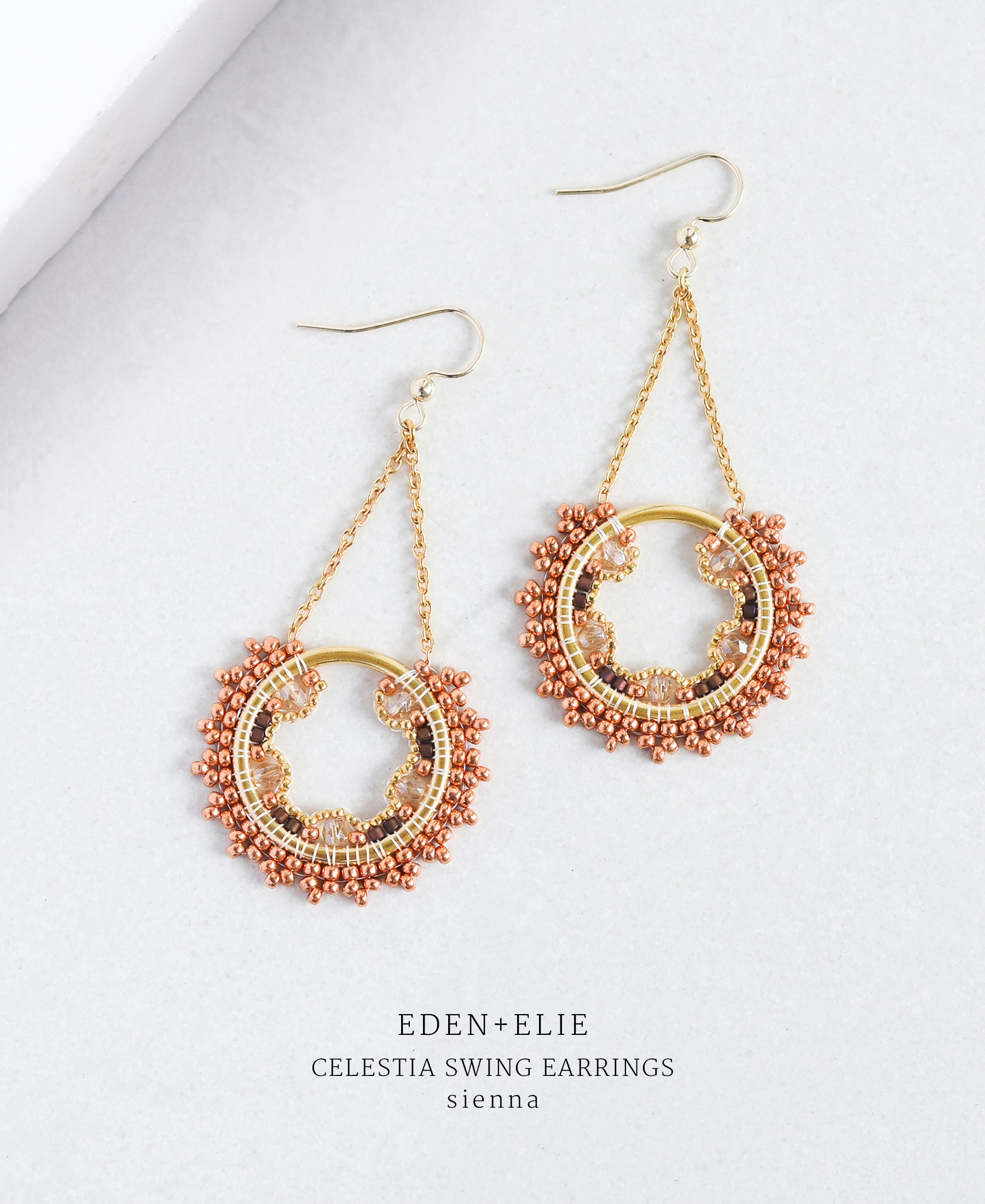 EDEN + ELIE Celestia swing earrings - sienna brown