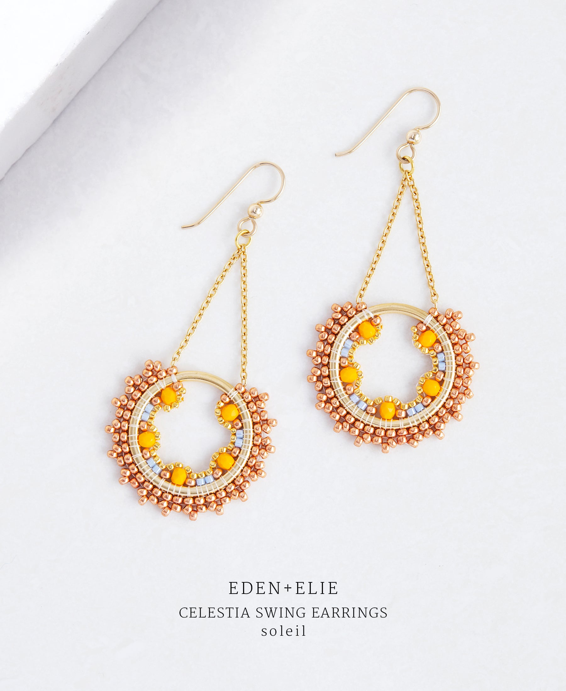 EDEN + ELIE Celestia swing earrings - soleil orange