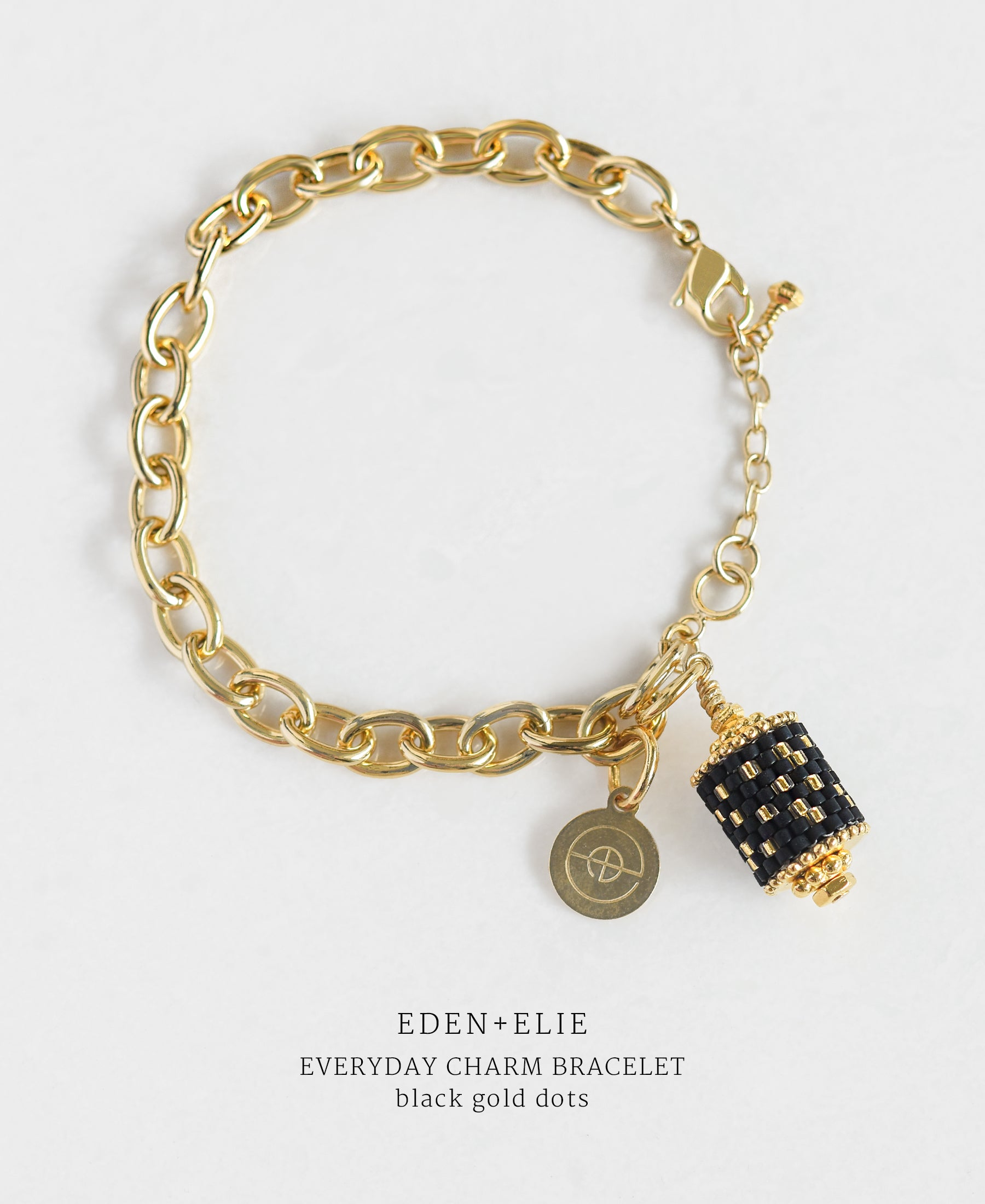 EDEN + ELIE Everyday gold charm bracelet - black gold dots