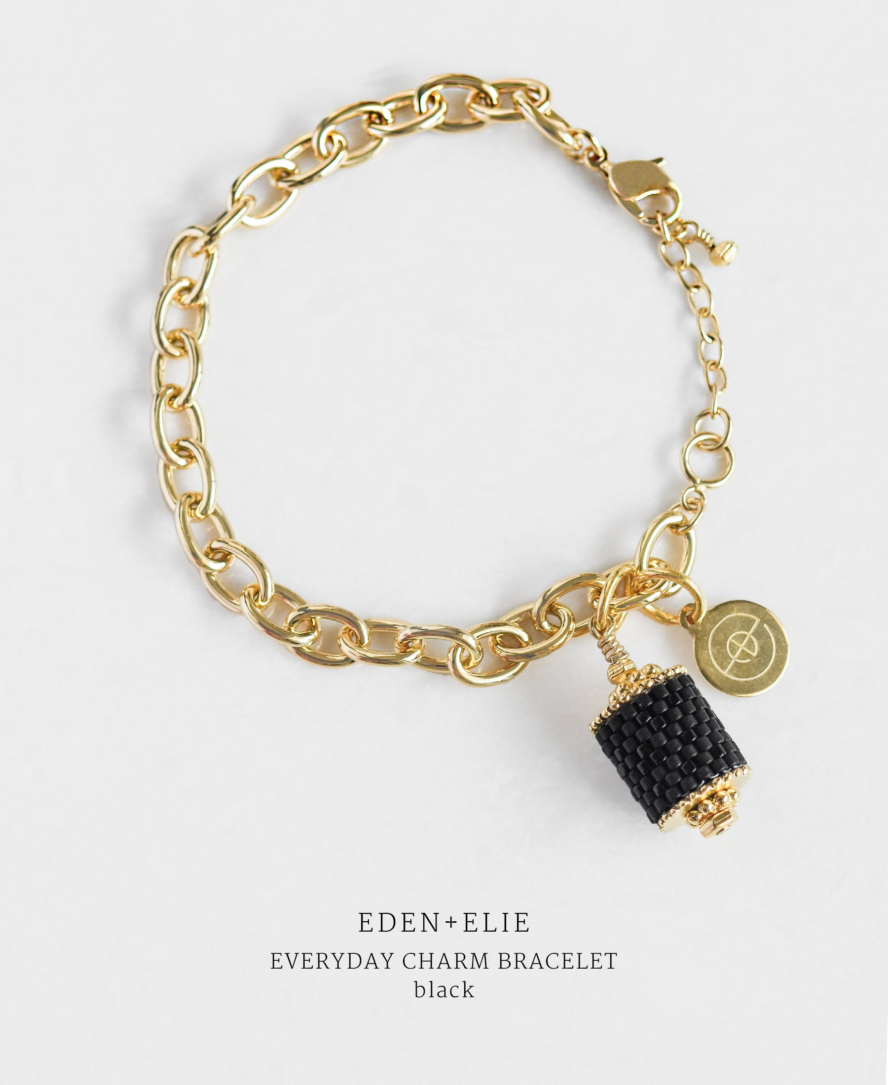 EDEN + ELIE Everyday gold charm bracelet - basic black