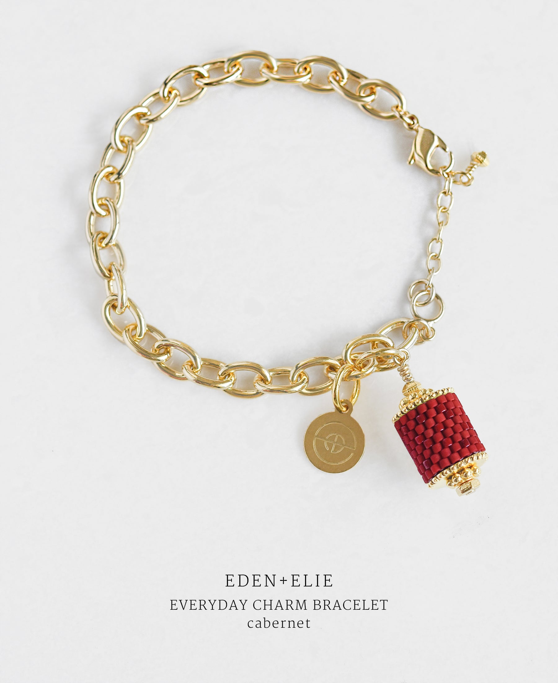 EDEN + ELIE Everyday gold charm bracelet - cabernet red