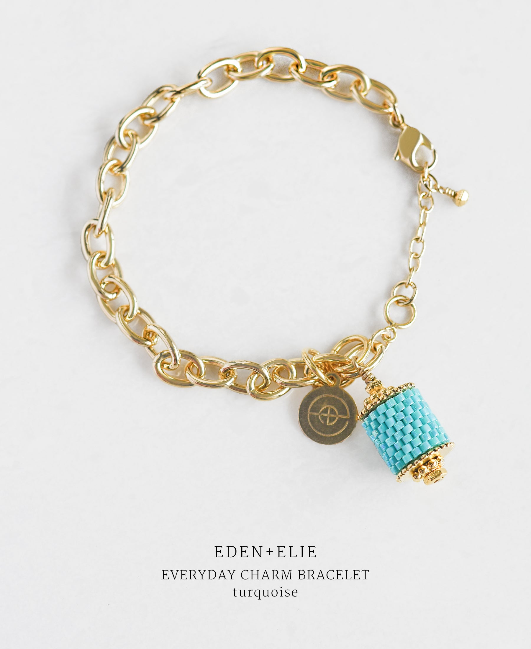 EDEN + ELIE Everyday gold charm bracelet - turquoise