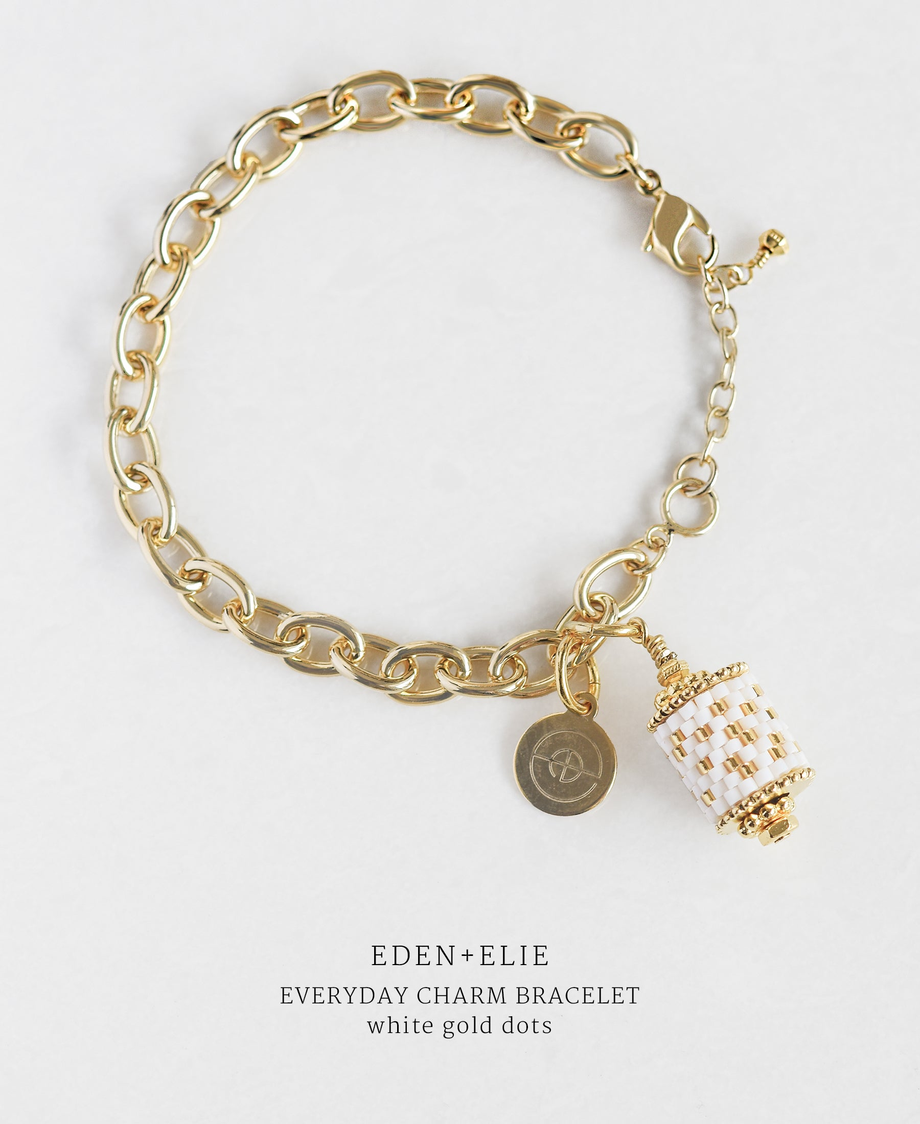 EDEN + ELIE Everyday gold charm bracelet - white gold dots