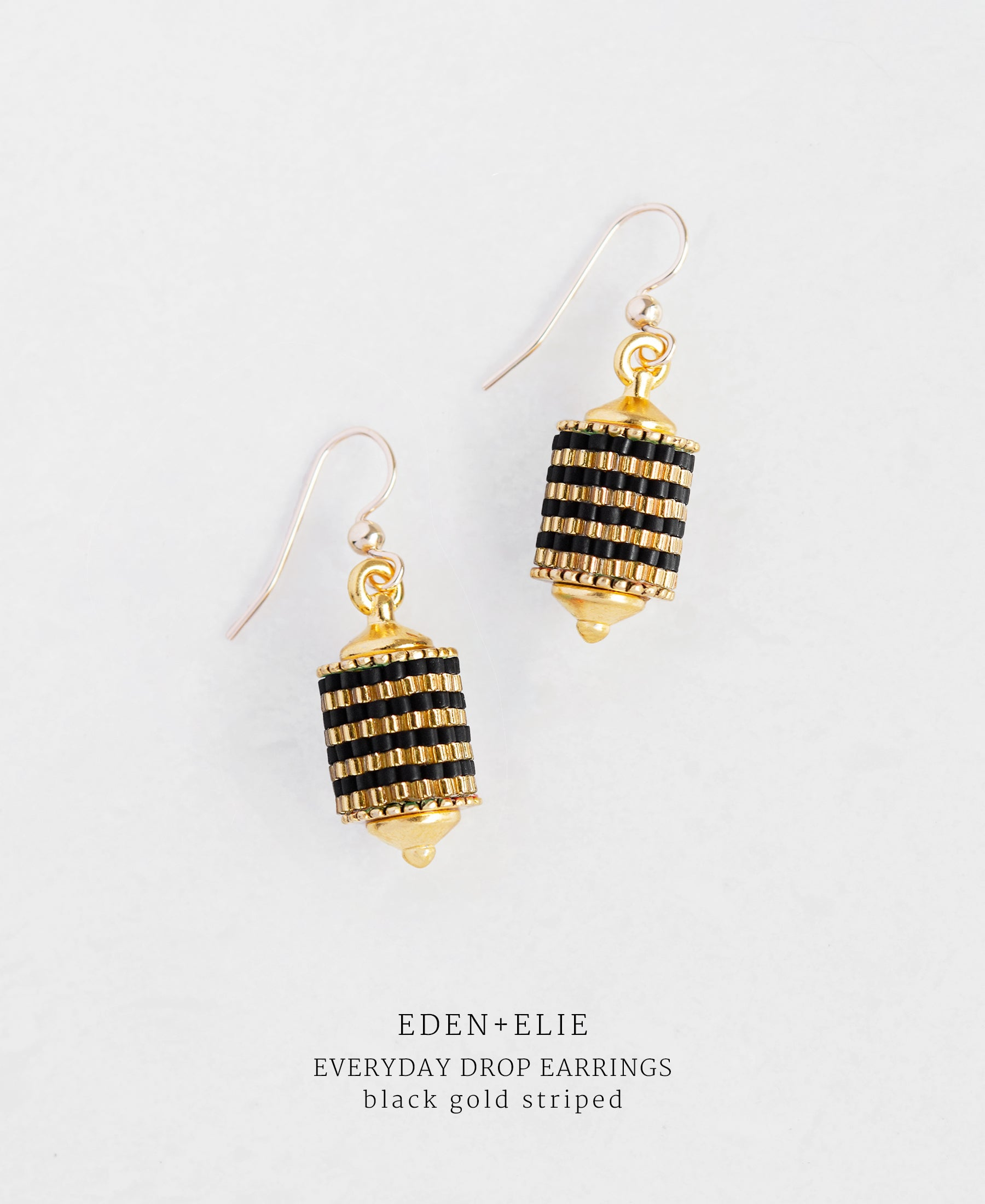 EDEN + ELIE Everyday drop earrings - black gold striped