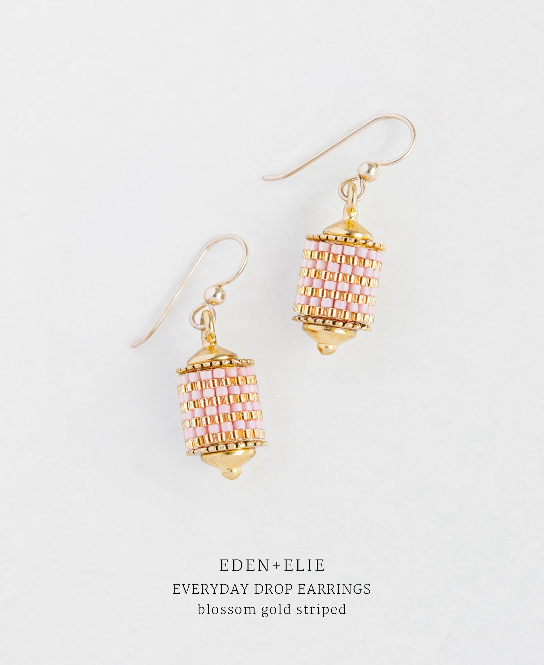 EDEN + ELIE Everyday drop earrings - blossom gold striped