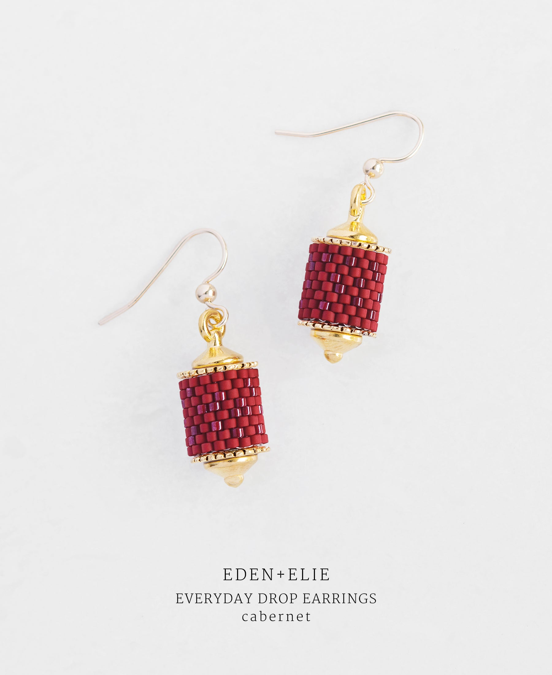 EDEN + ELIE Everyday drop earrings - cabernet red