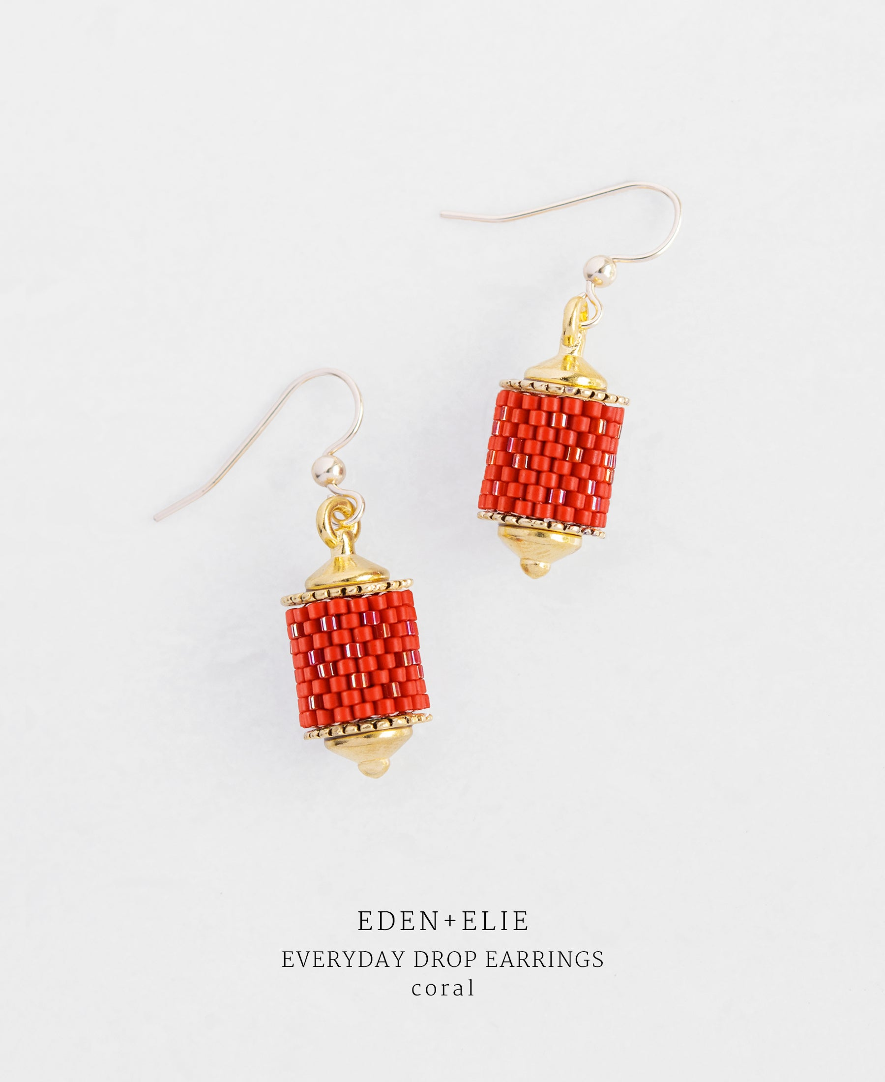 EDEN + ELIE Everyday drop earrings - coral red