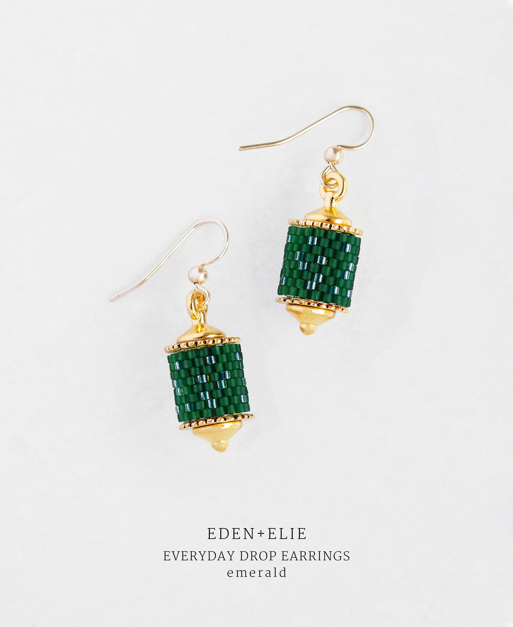 EDEN + ELIE Everyday drop earrings - emerald green