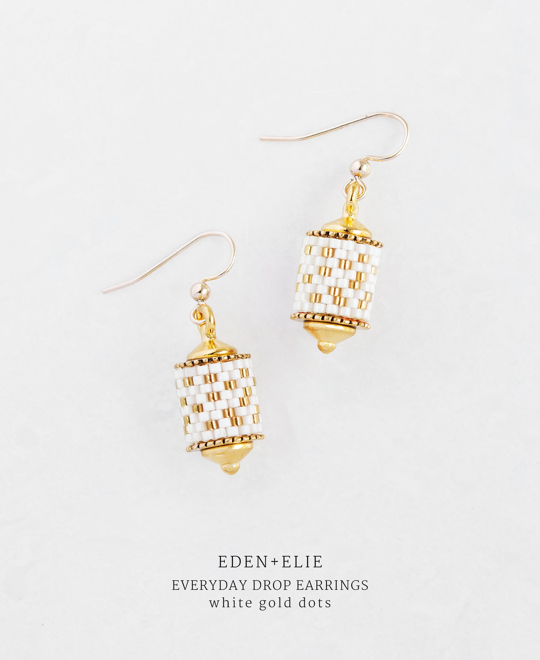 EDEN + ELIE Everyday drop earrings - white gold dots