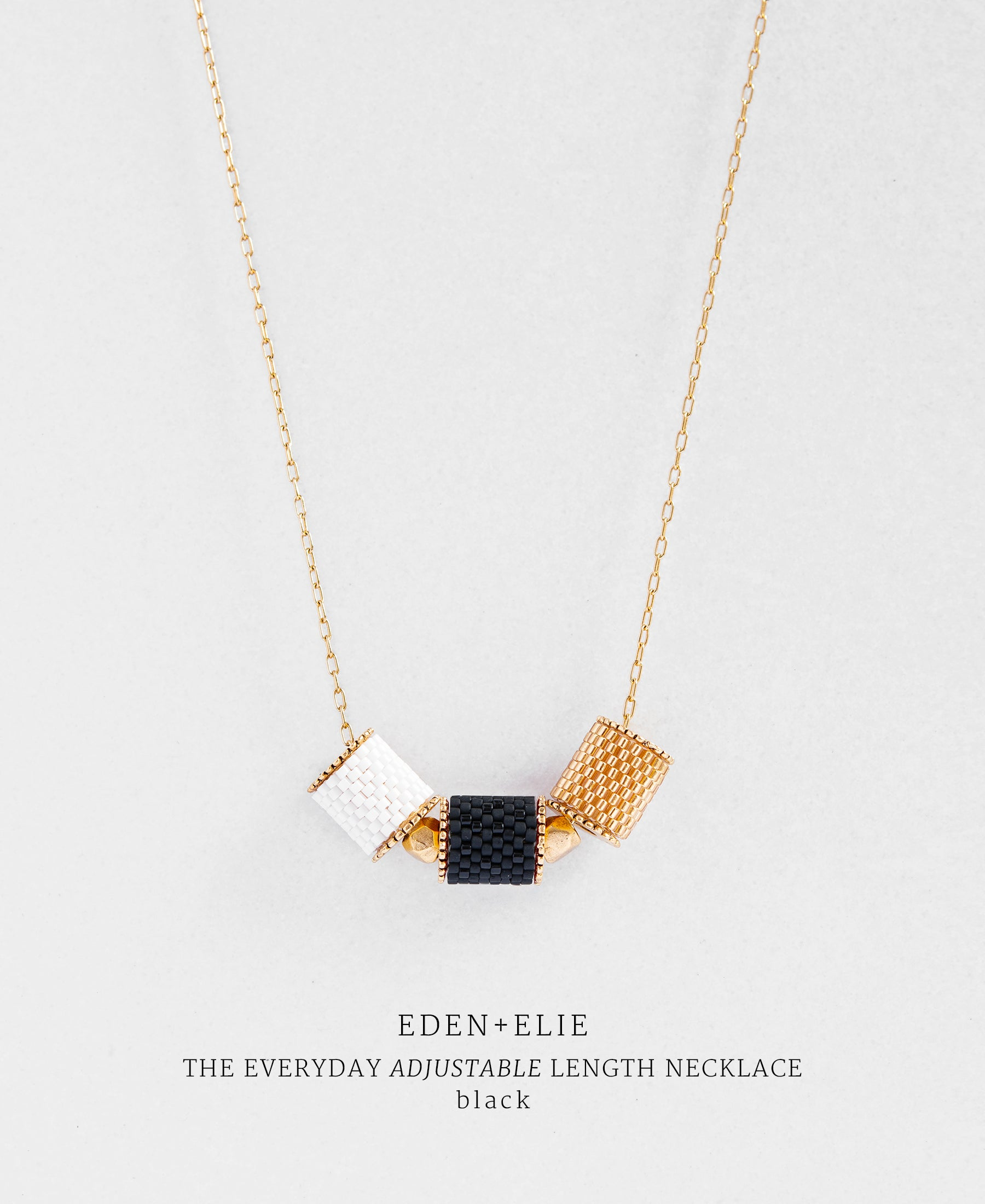 EDEN + ELIE Everyday adjustable length necklace - basic black