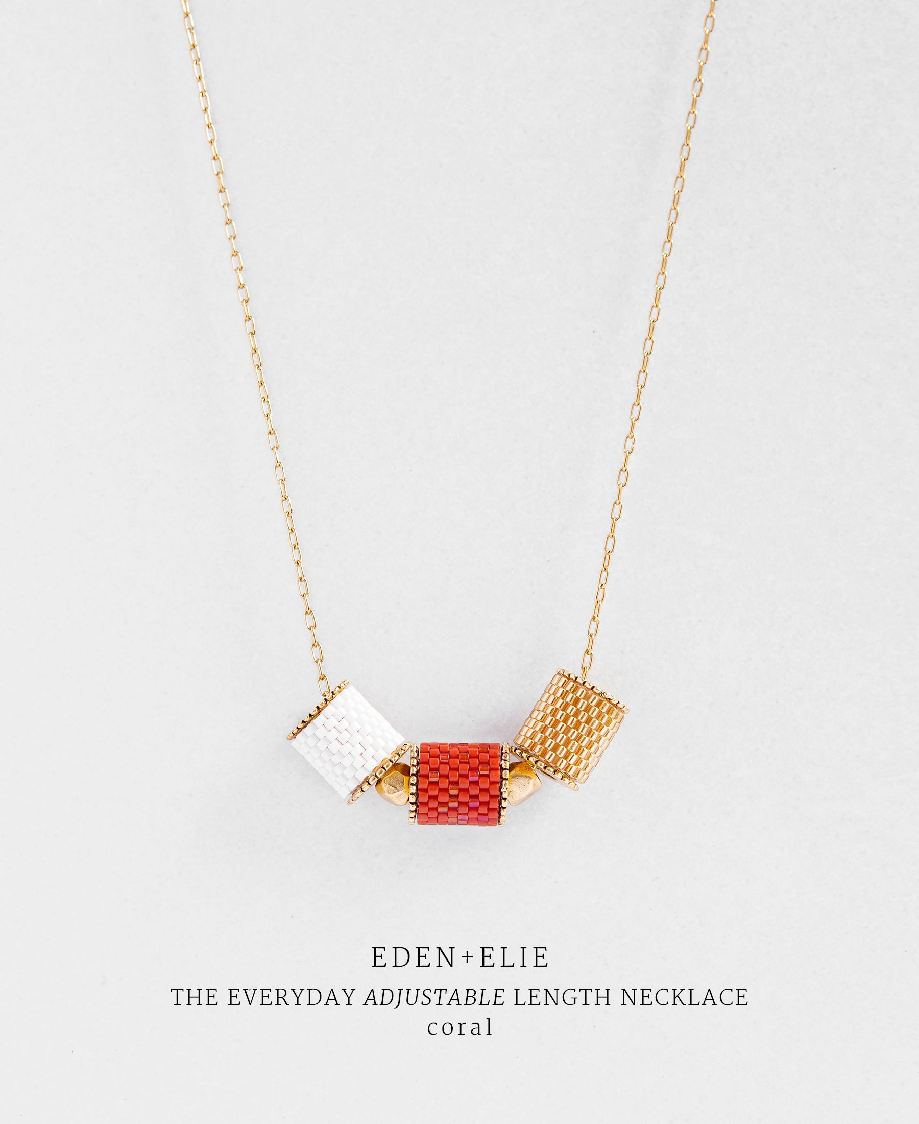 EDEN + ELIE Everyday adjustable length necklace - coral red