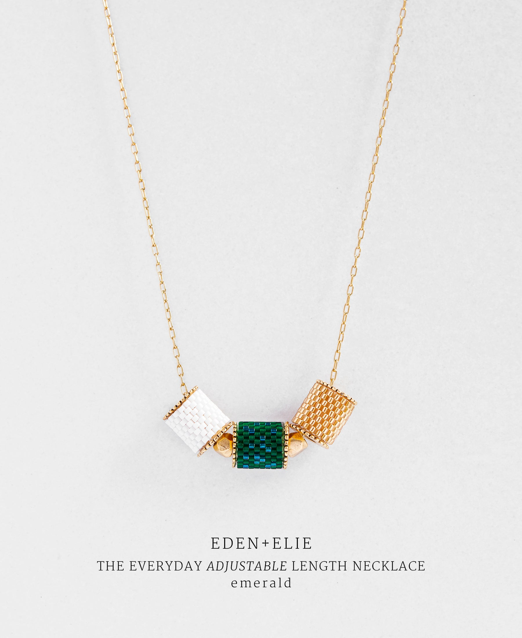 EDEN + ELIE Everyday adjustable length necklace - emerald green