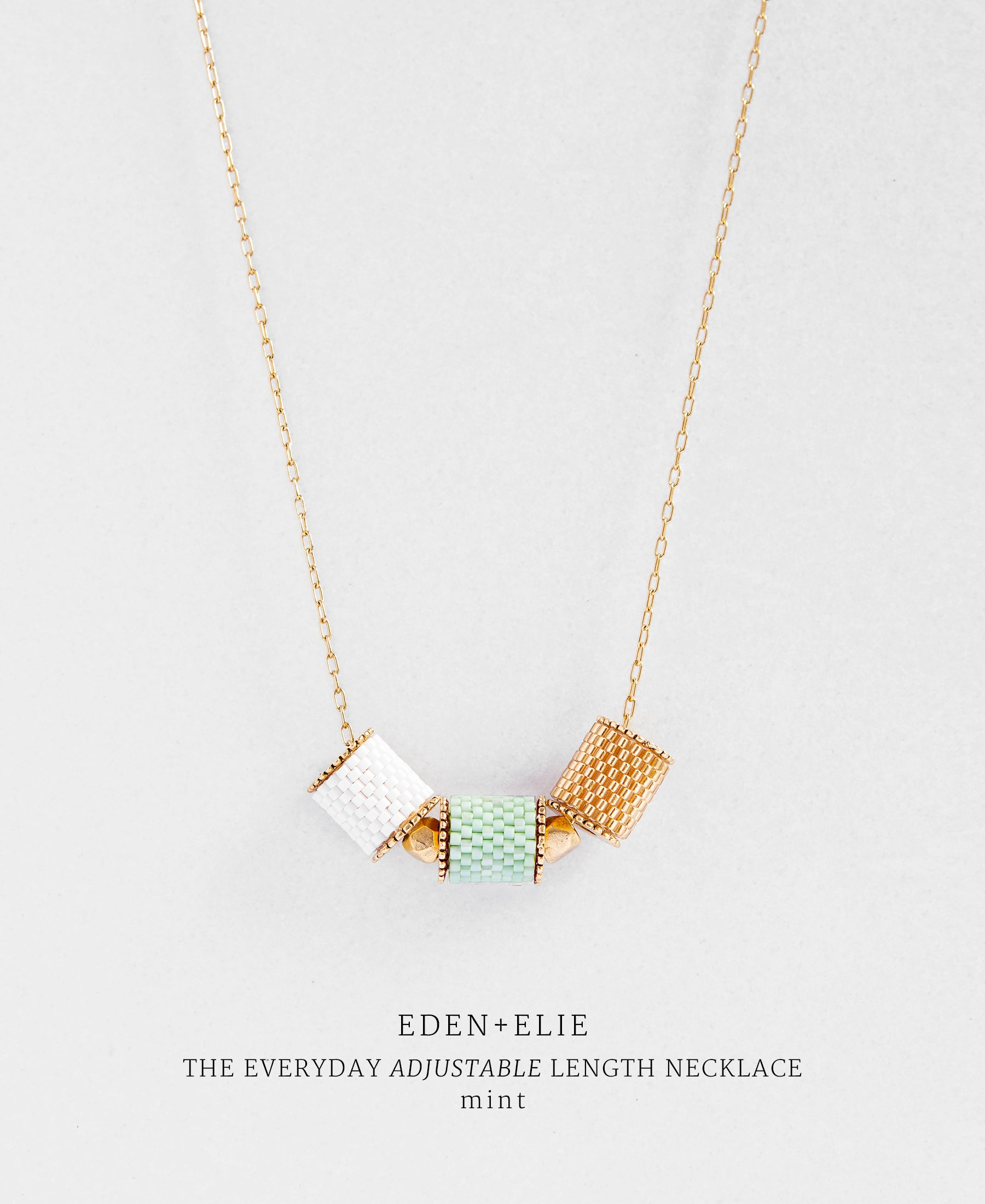 EDEN + ELIE Everyday adjustable length necklace - mint green