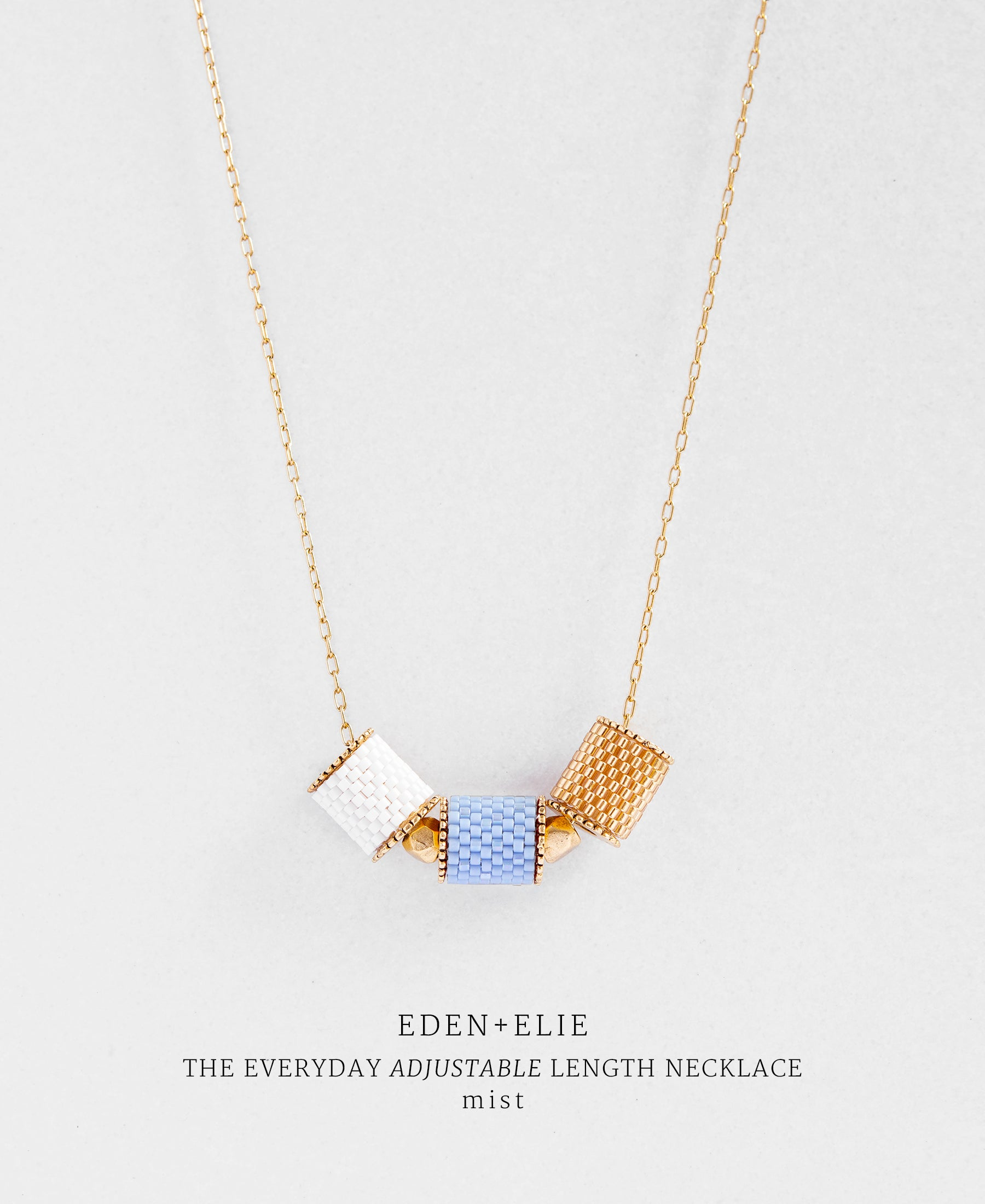 EDEN + ELIE Everyday adjustable length necklace - mist blue
