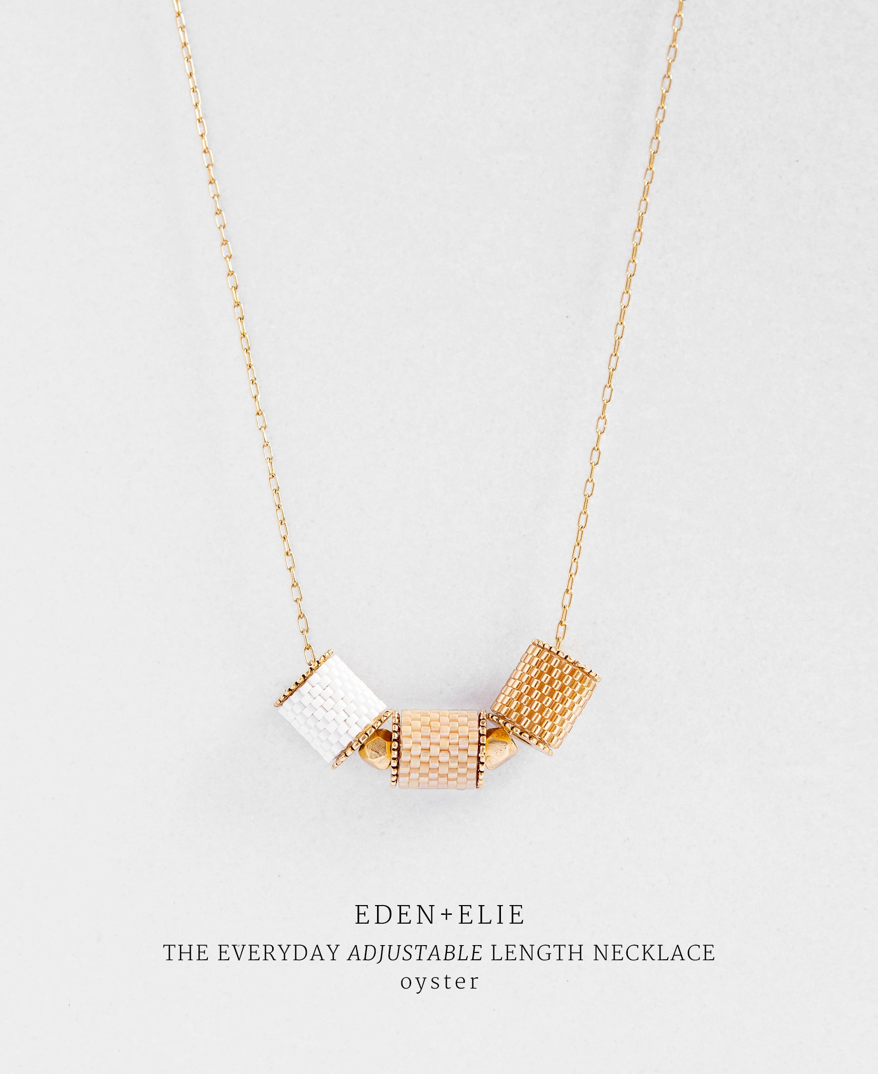 EDEN + ELIE gold plated jewelry Everyday adjustable length necklace - light oyster