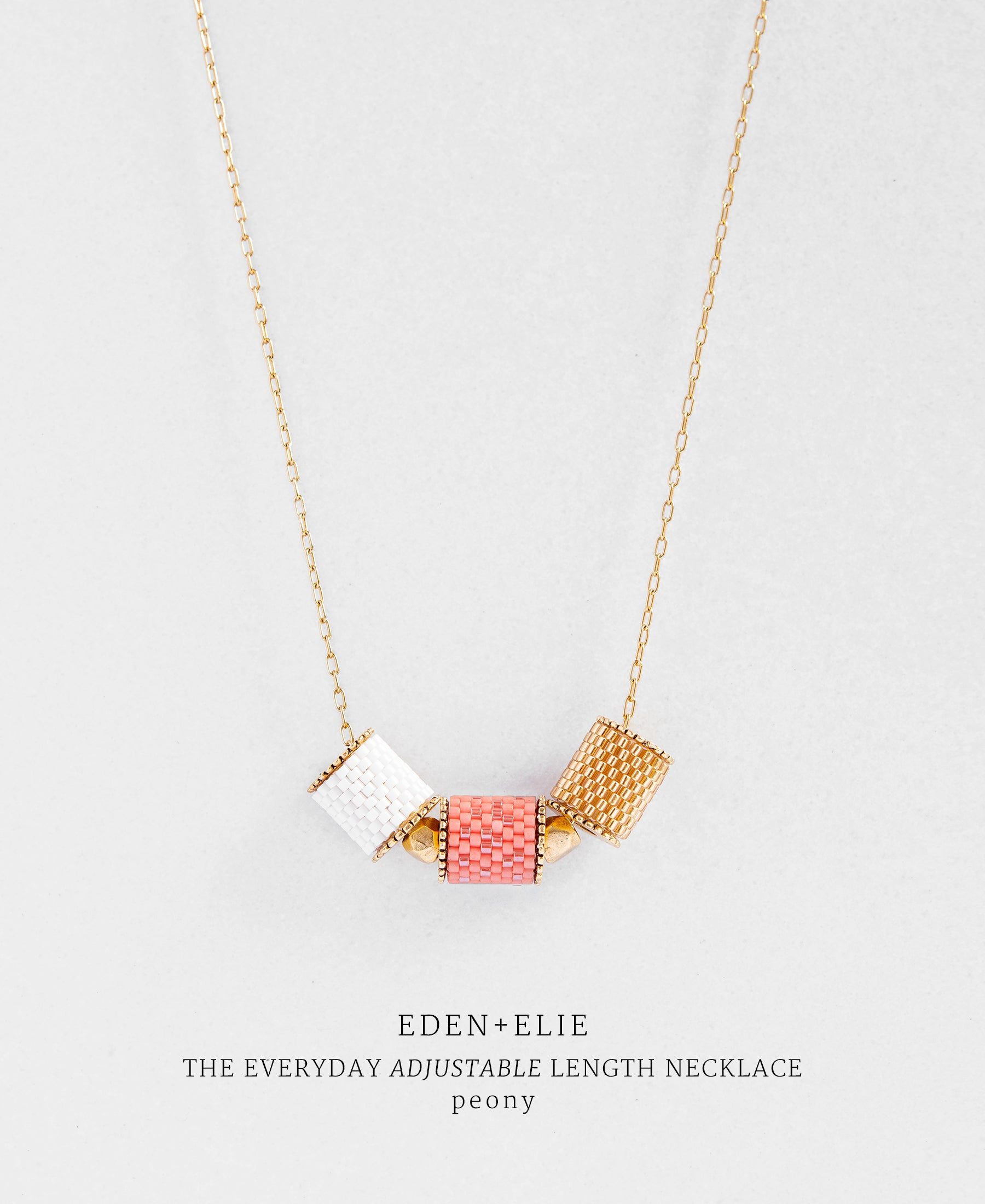 EDEN + ELIE Everyday adjustable length necklace - peony pink