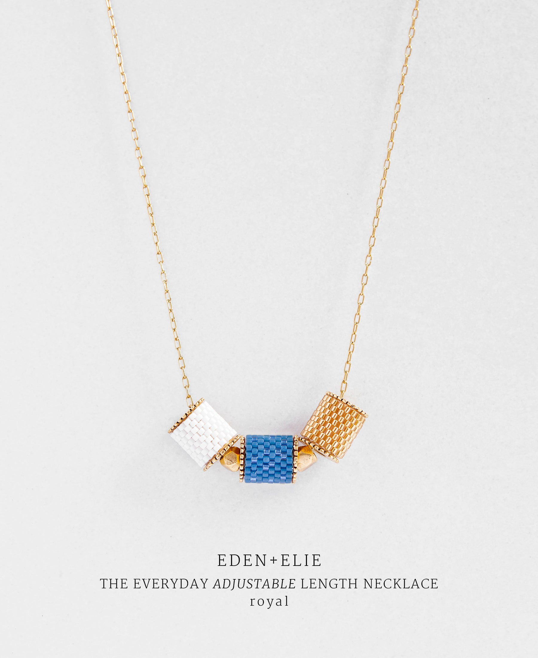 EDEN + ELIE Everyday adjustable length necklace - royal blue