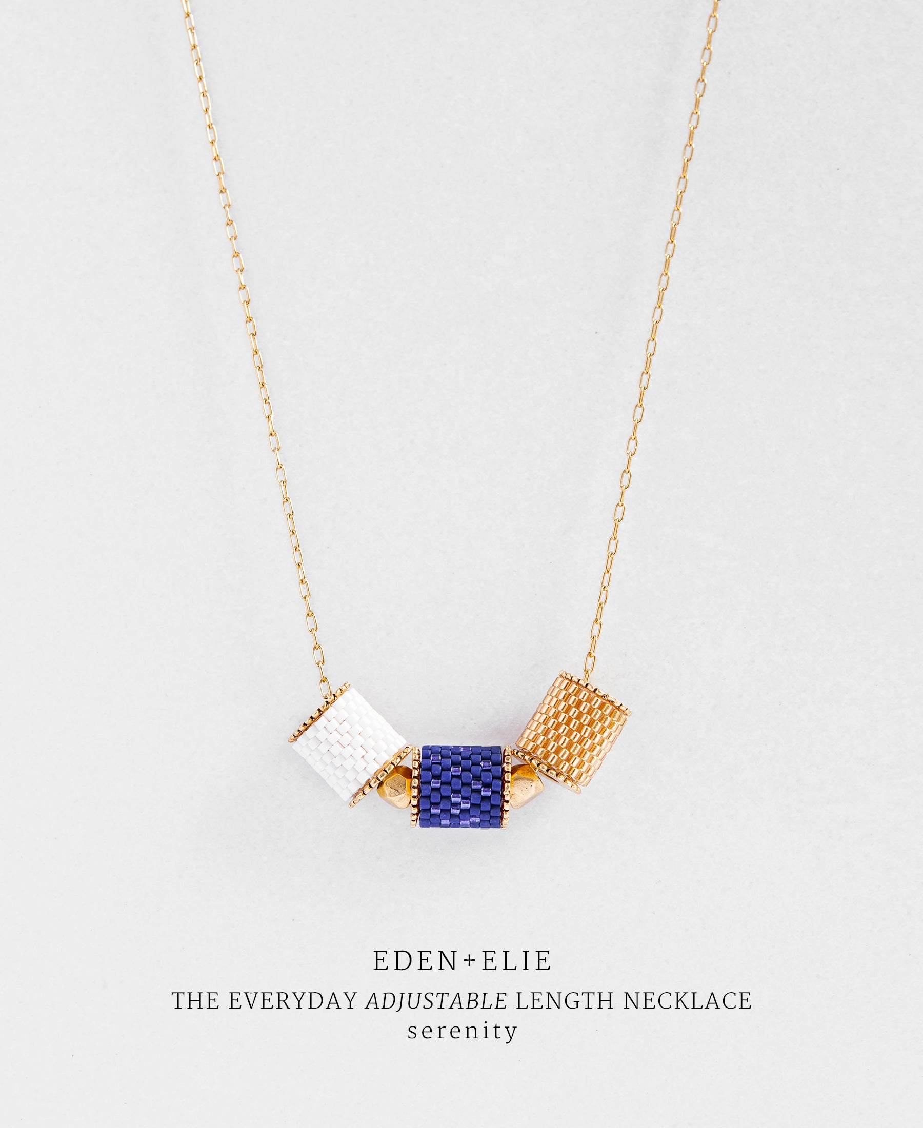 EDEN + ELIE Everyday adjustable length necklace - serenity blue