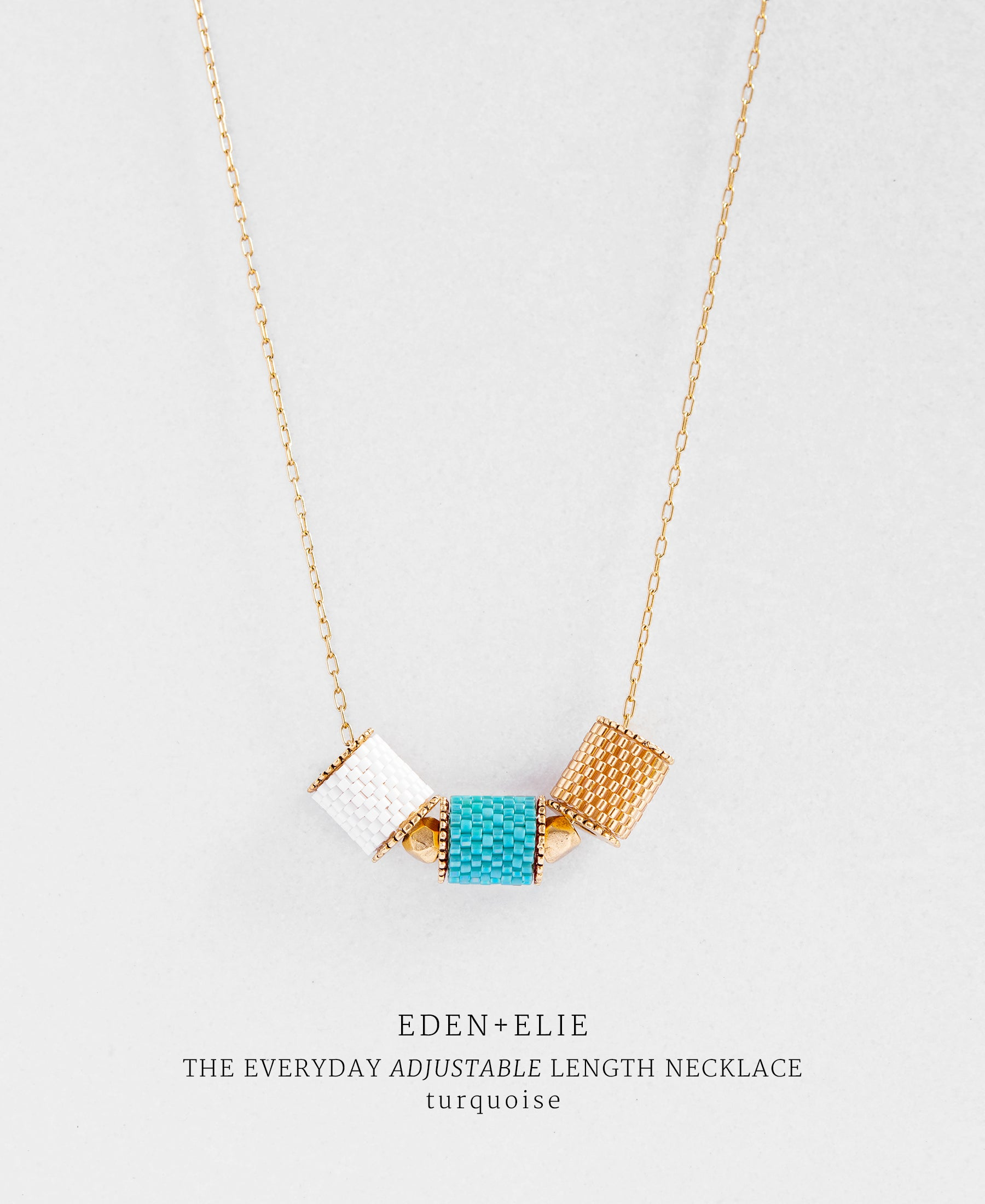 EDEN + ELIE Everyday adjustable length necklace - turquoise