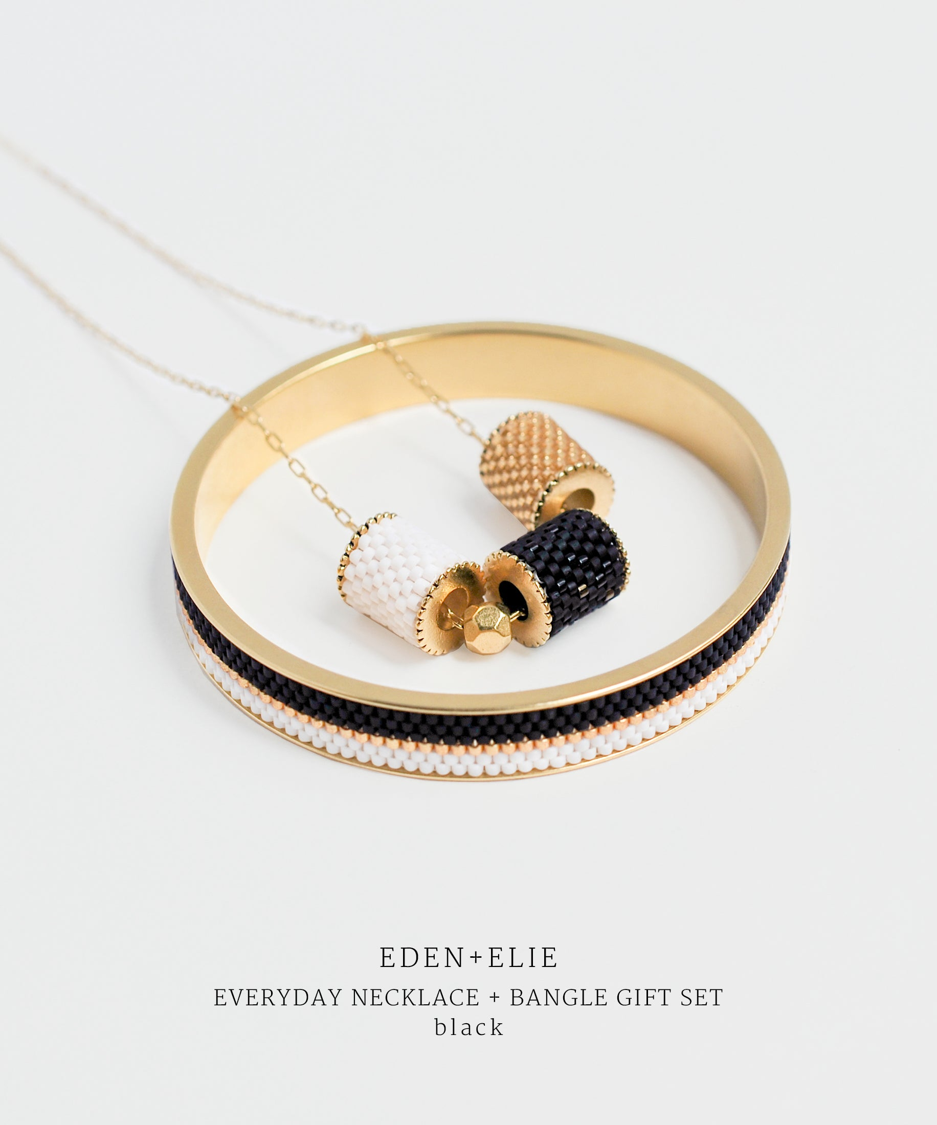 EDEN + ELIE Everyday adjustable length necklace + bangle set - basic black