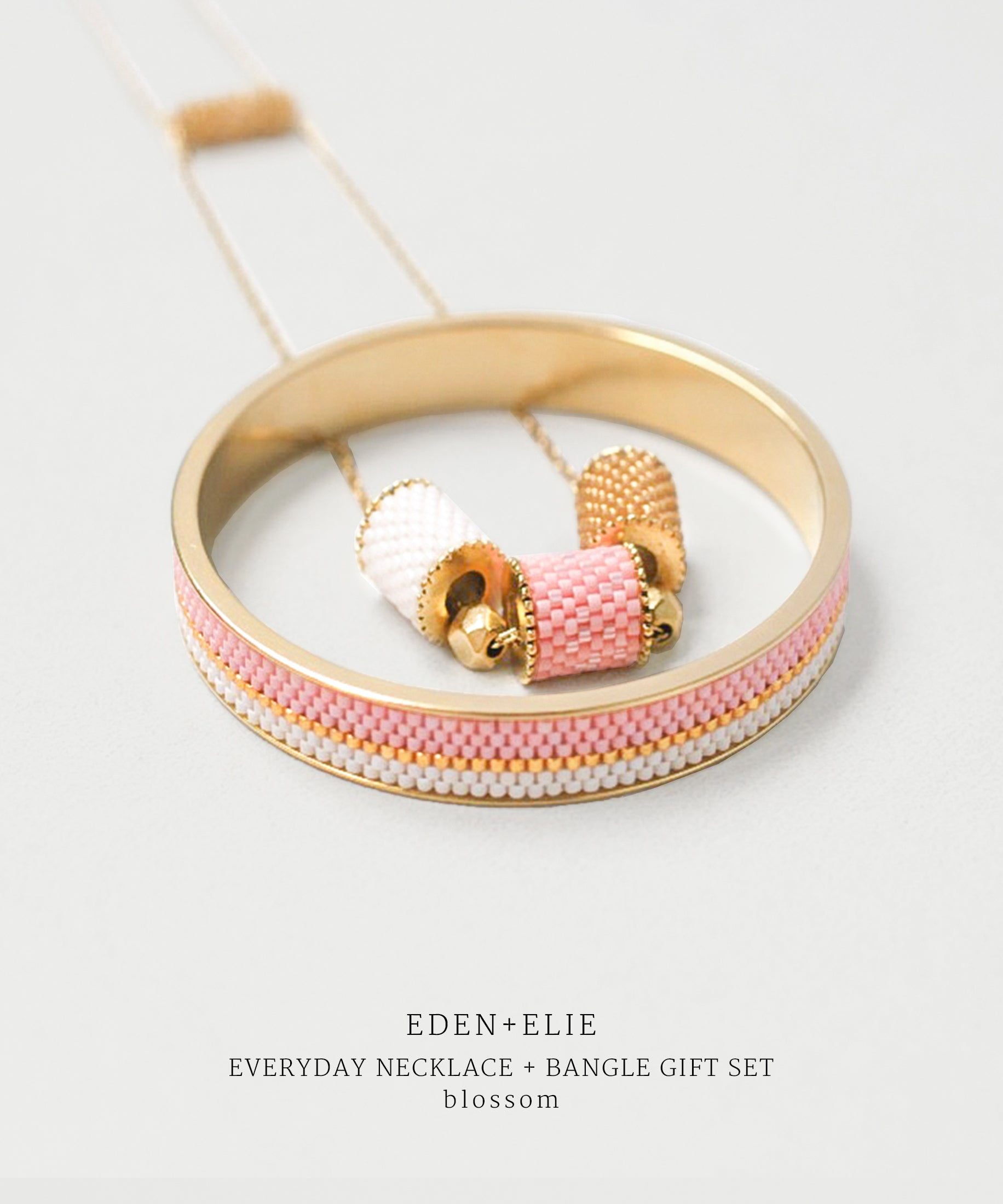 EDEN + ELIE Everyday adjustable length necklace + bangle set - blossom pink