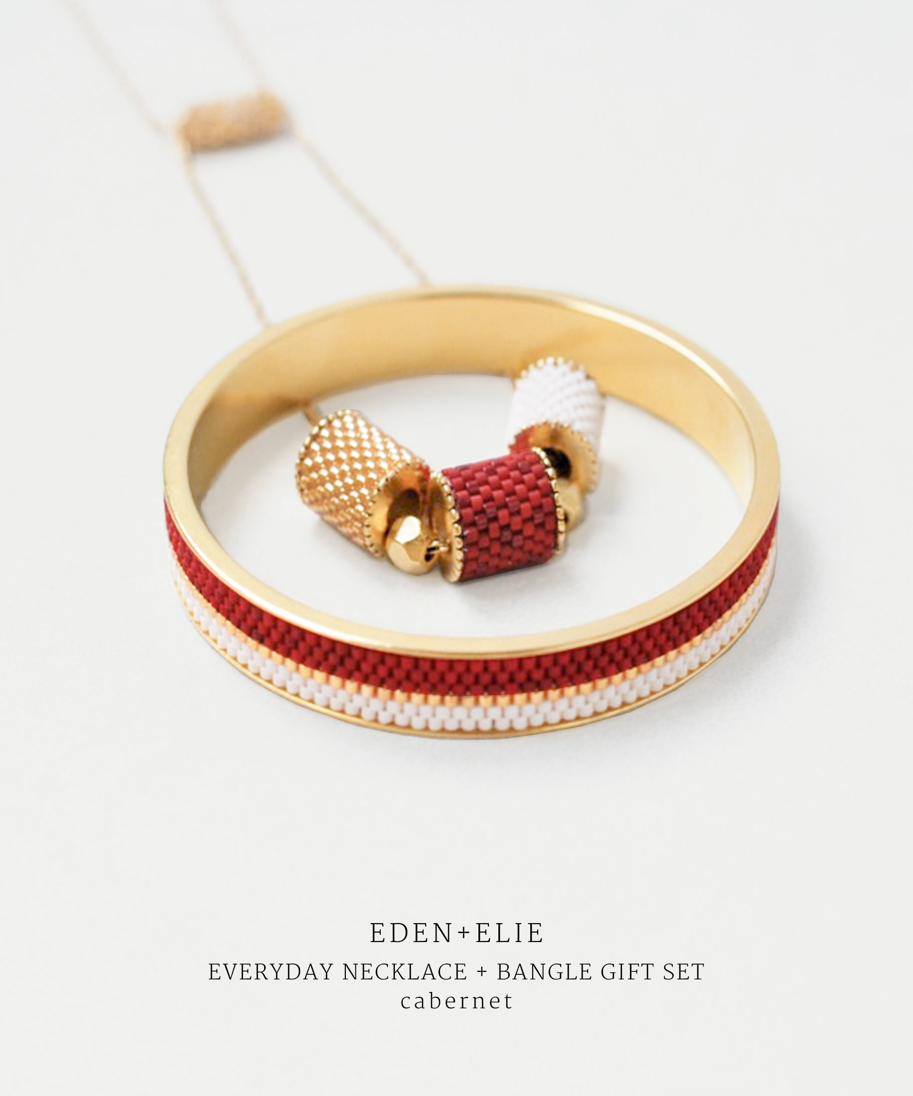 EDEN + ELIE Everyday adjustable length necklace + bangle set - cabernet red
