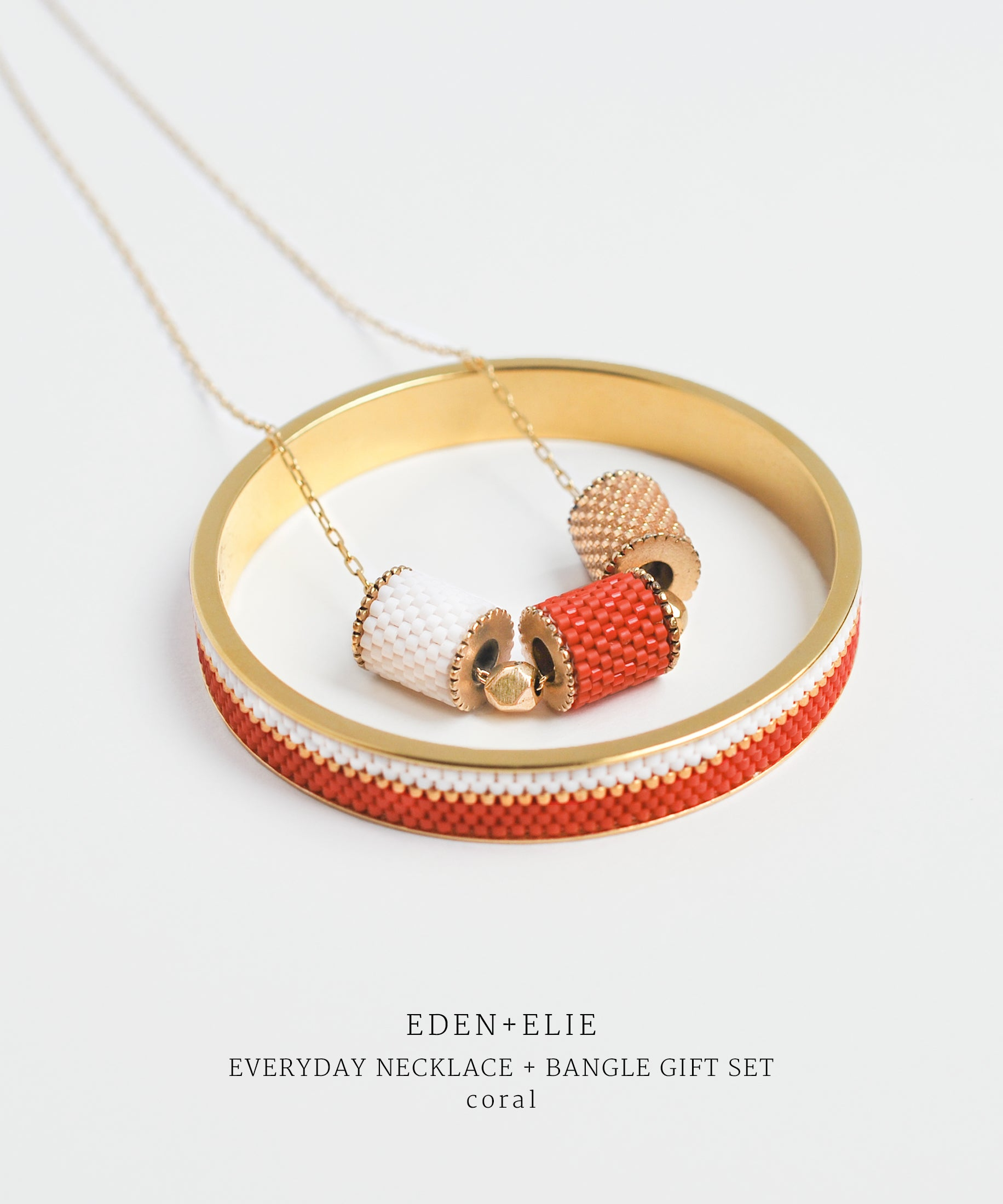 EDEN + ELIE Everyday adjustable length necklace + bangle set - coral red