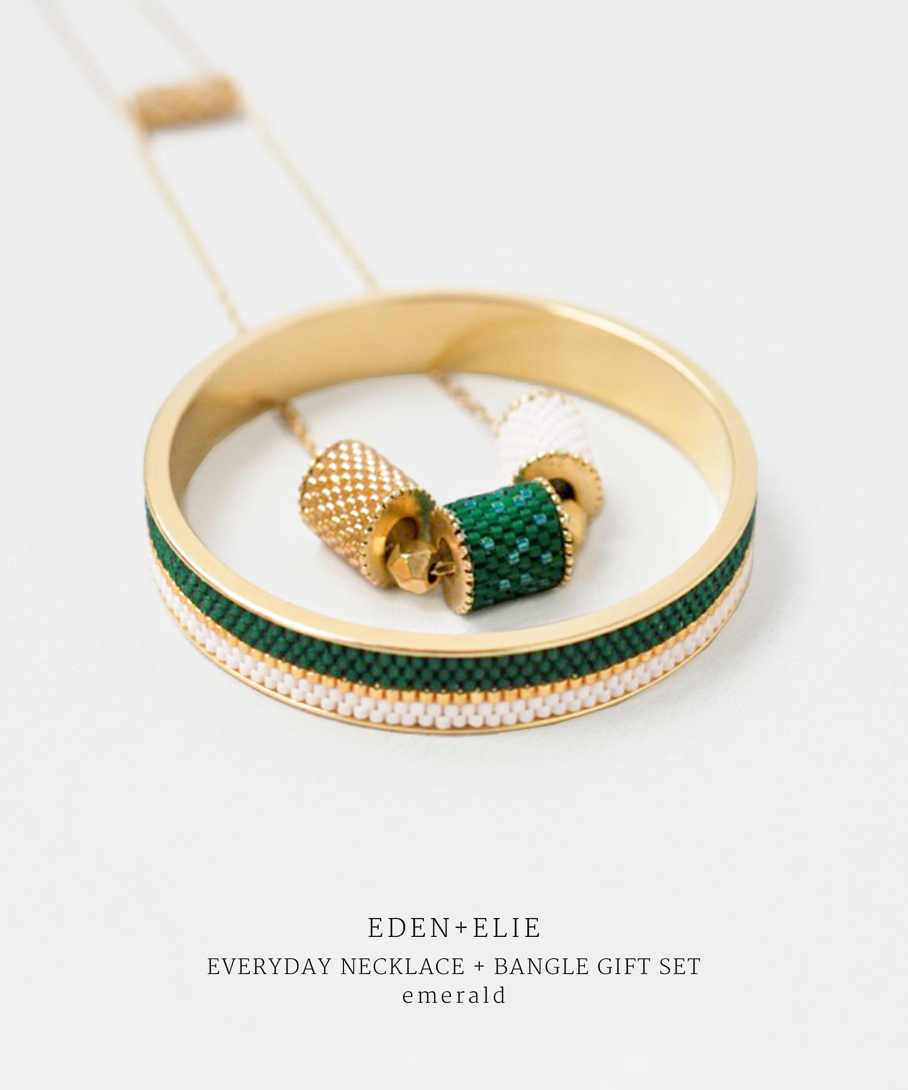 EDEN + ELIE Everyday adjustable length necklace + bangle set - emerald green