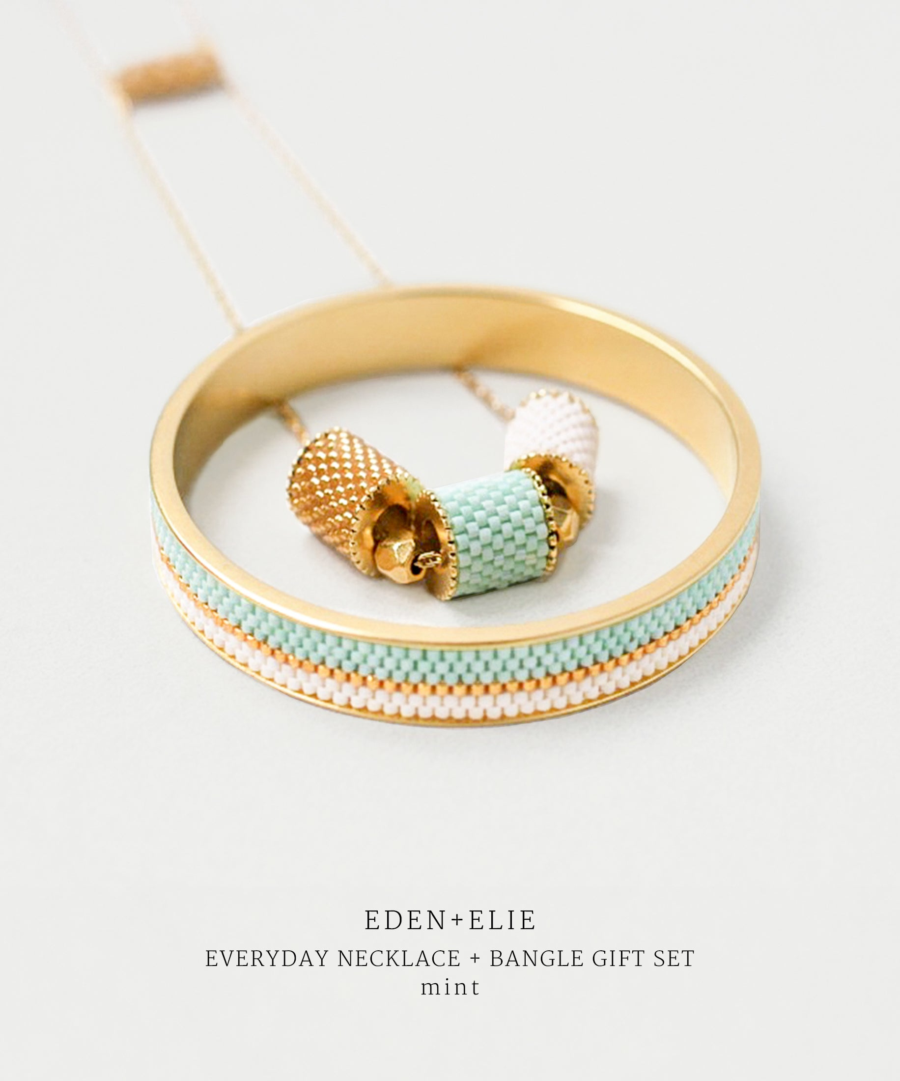 DEN + ELIE gold plated jewelry Everyday adjustable length necklace + bangle set - mint green