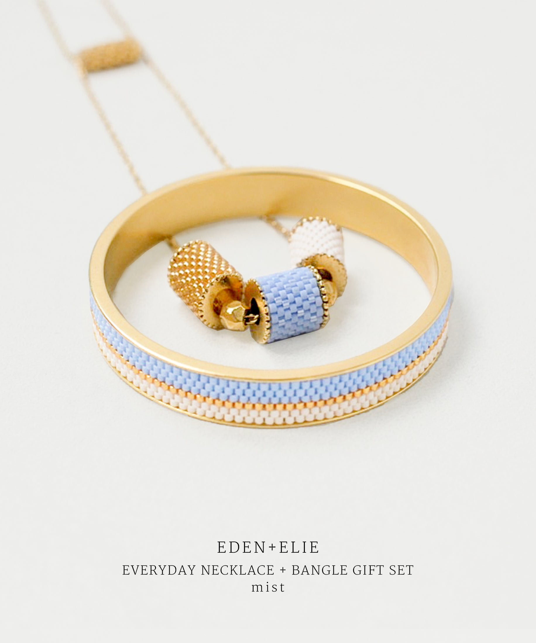EDEN + ELIE gold plated jewelry Everyday adjustable length necklace + bangle set - mist blue