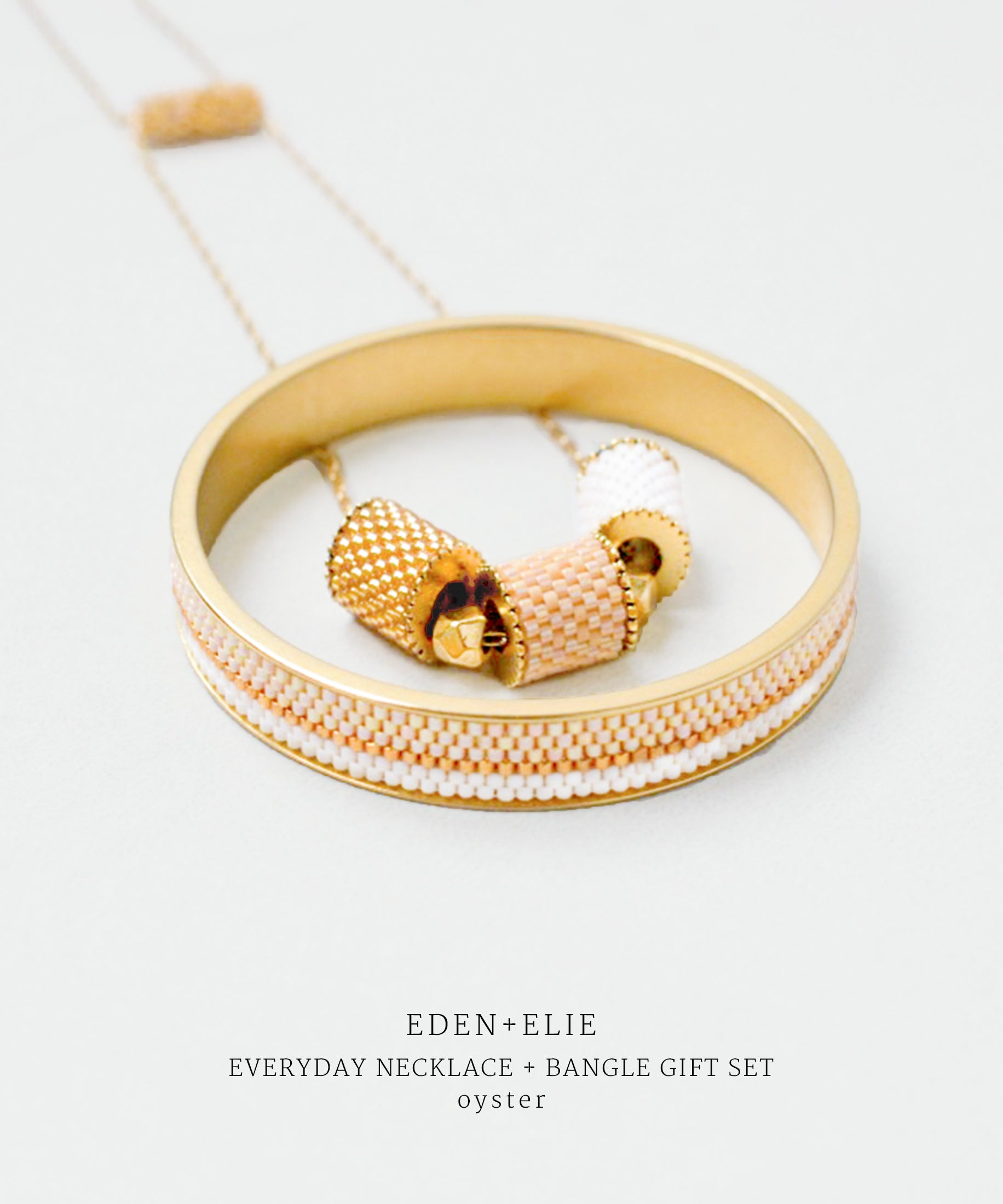 EDEN + ELIE gold plated jewelry Everyday adjustable length necklace + bangle set - light oyster