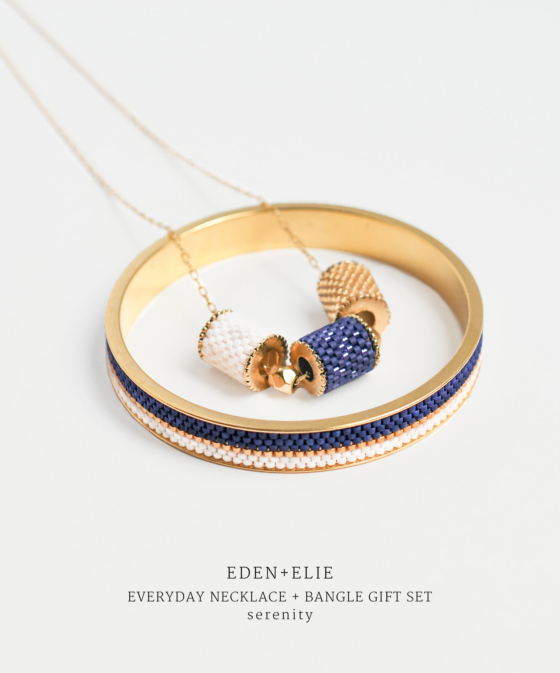 EDEN + ELIE Everyday adjustable length necklace + bangle set - serenity blue