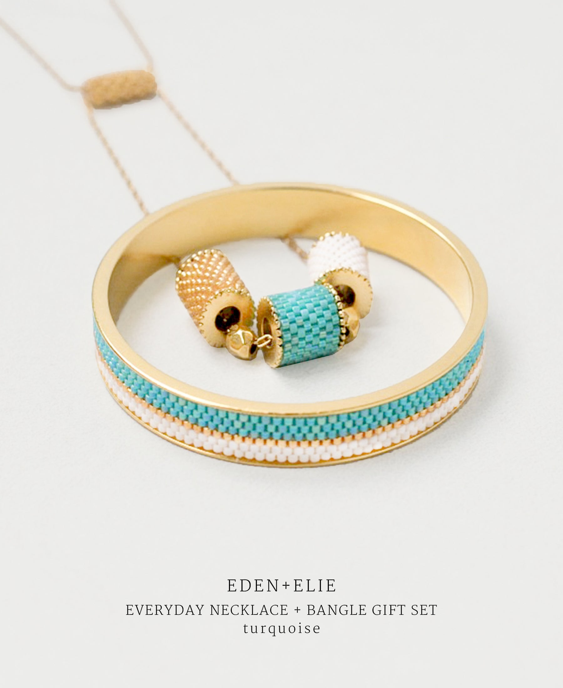 EDEN + ELIE Everyday adjustable length necklace + bangle set - turquoise