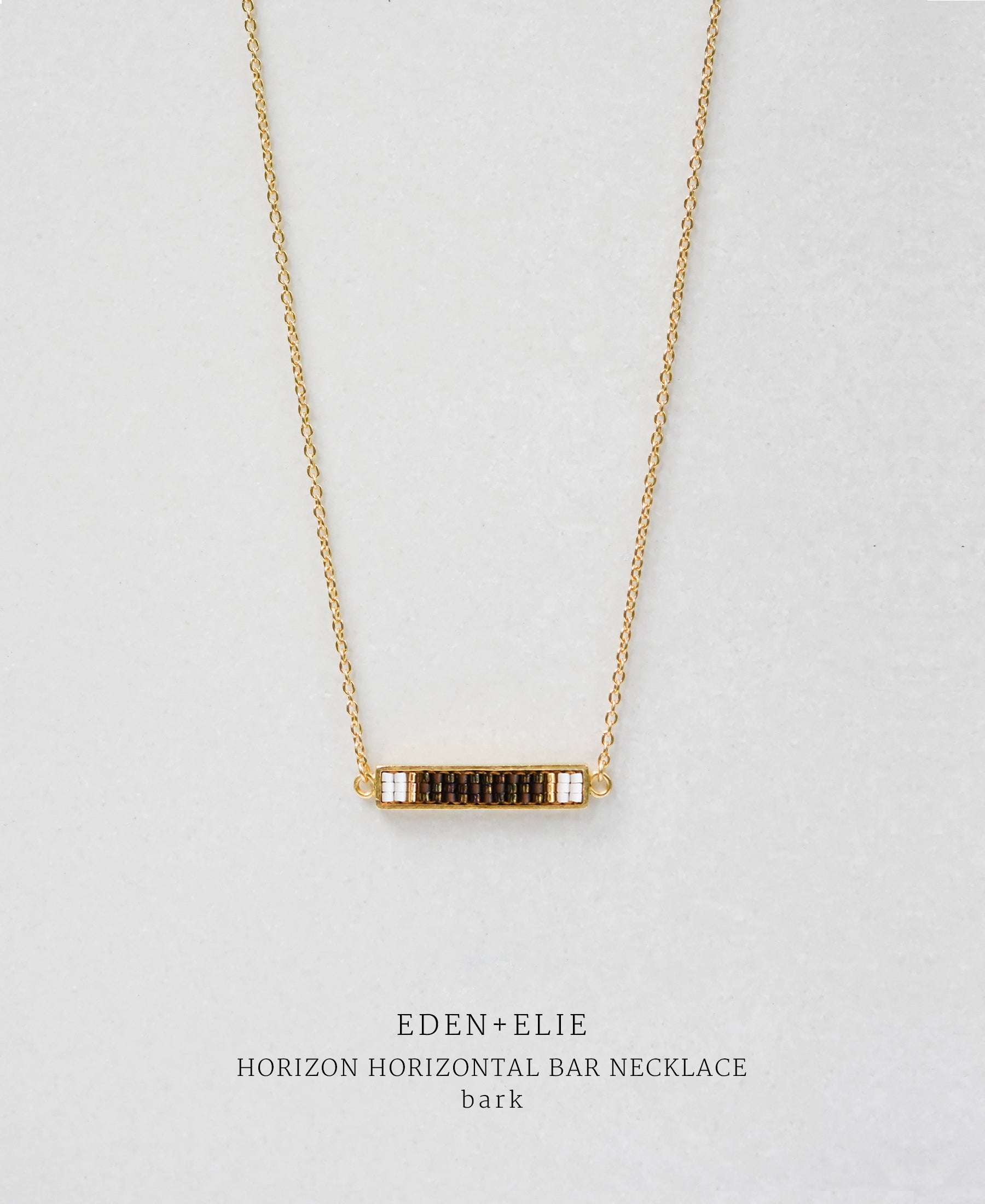 EDEN + ELIE Horizon Horizontal bar necklace - bark brown