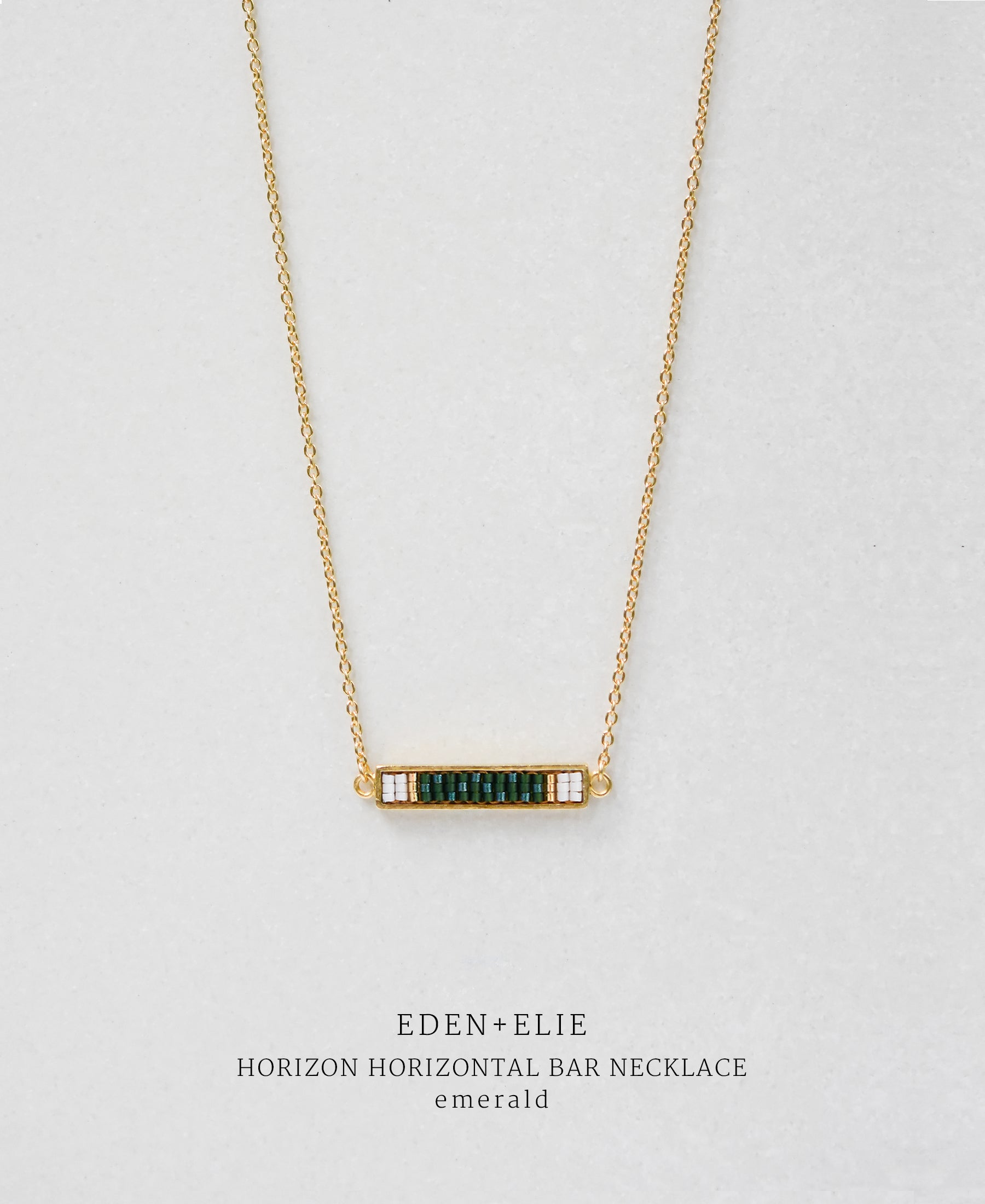 EDEN + ELIE Horizon Horizontal bar necklace - emerald green