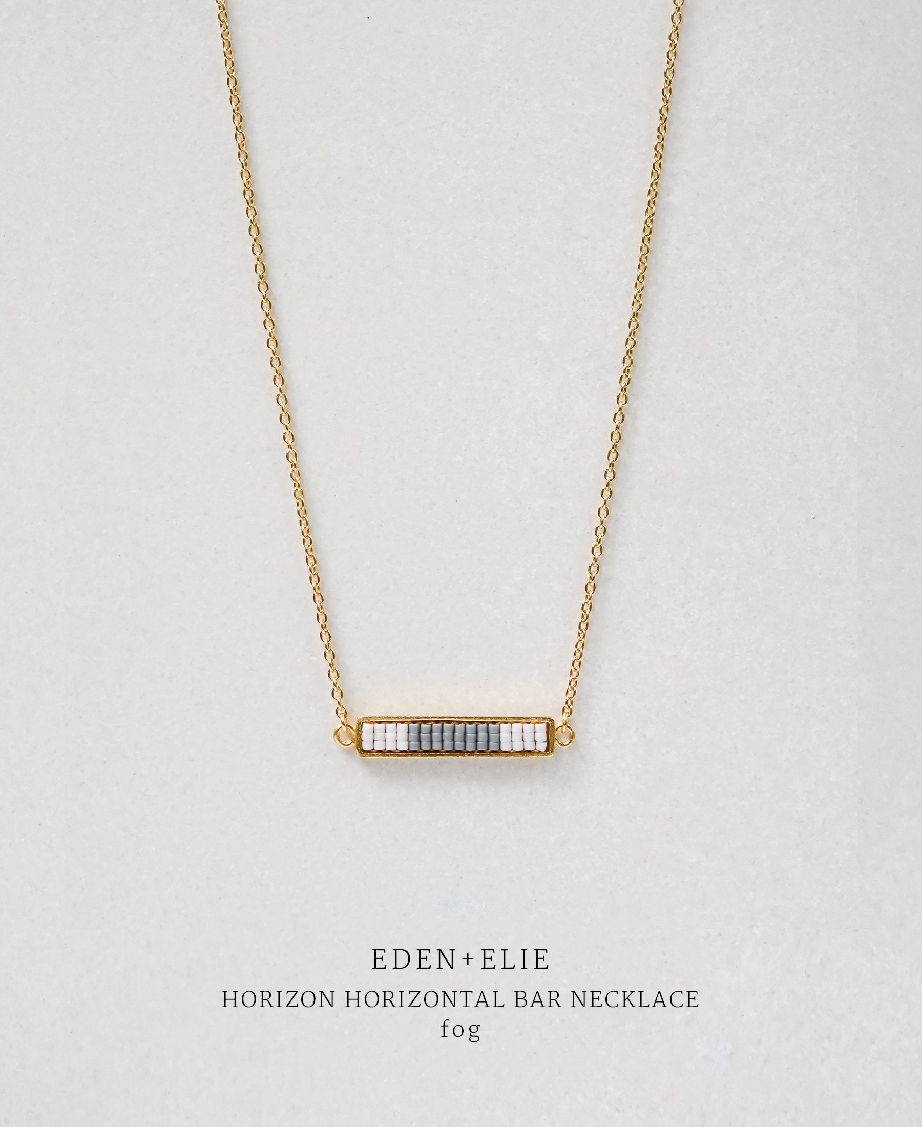 EDEN + ELIE Horizon Horizontal bar necklace - fog grey