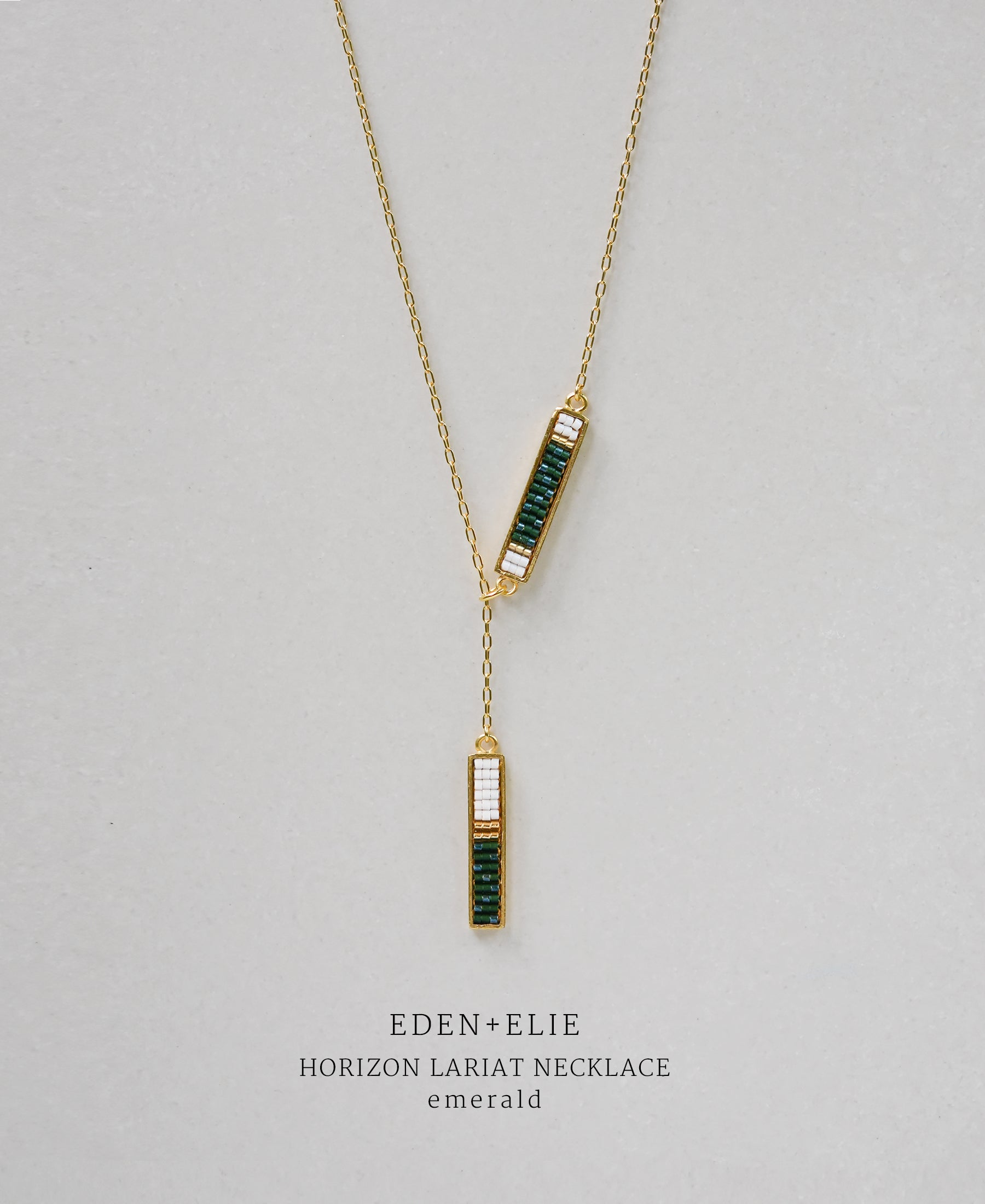 EDEN + ELIE Horizon Lariat necklace - emerald green